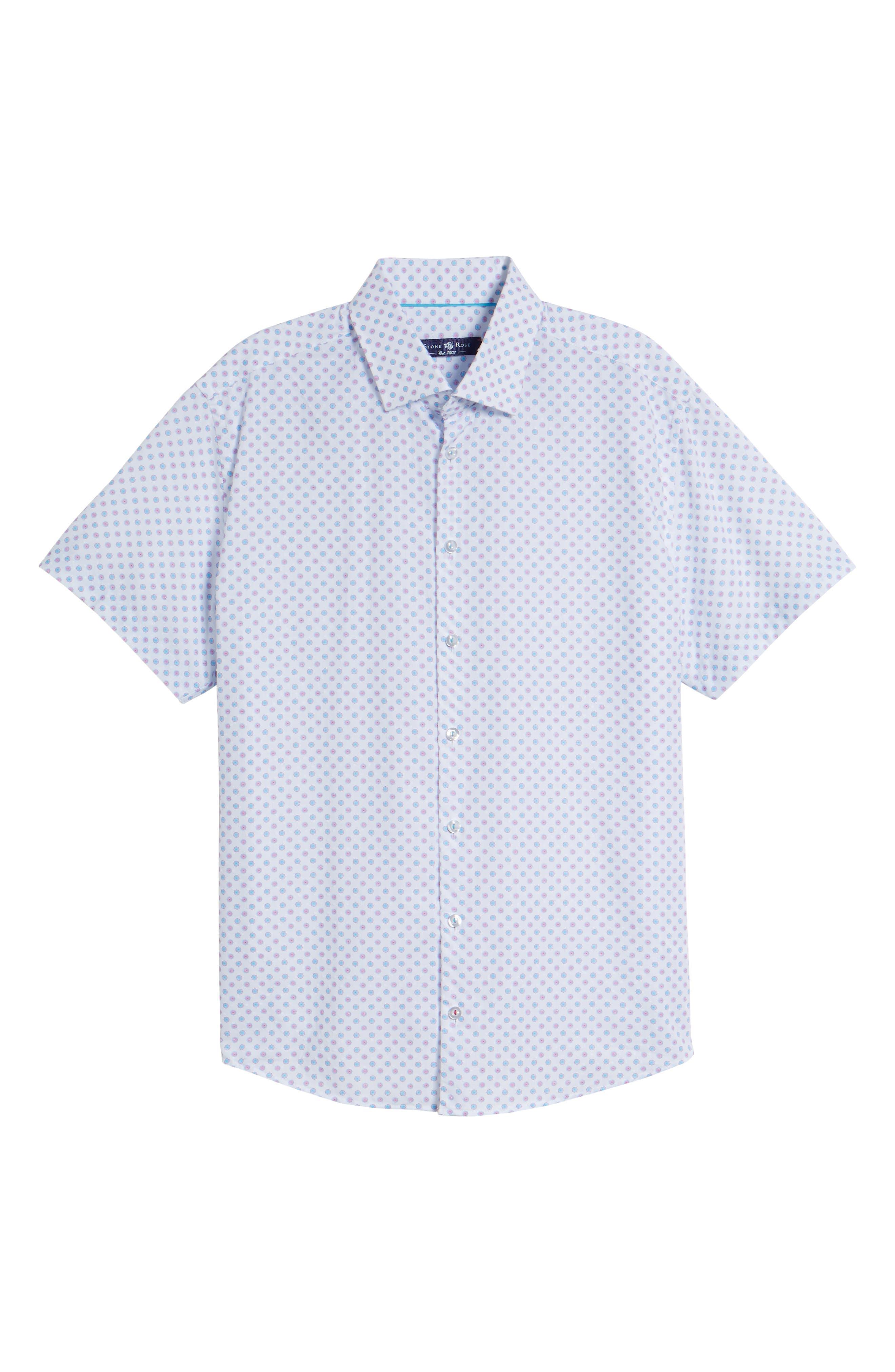 Contemporary Fit Umbrella Print Sport Shirt,                             Alternate thumbnail 6, color,                             White