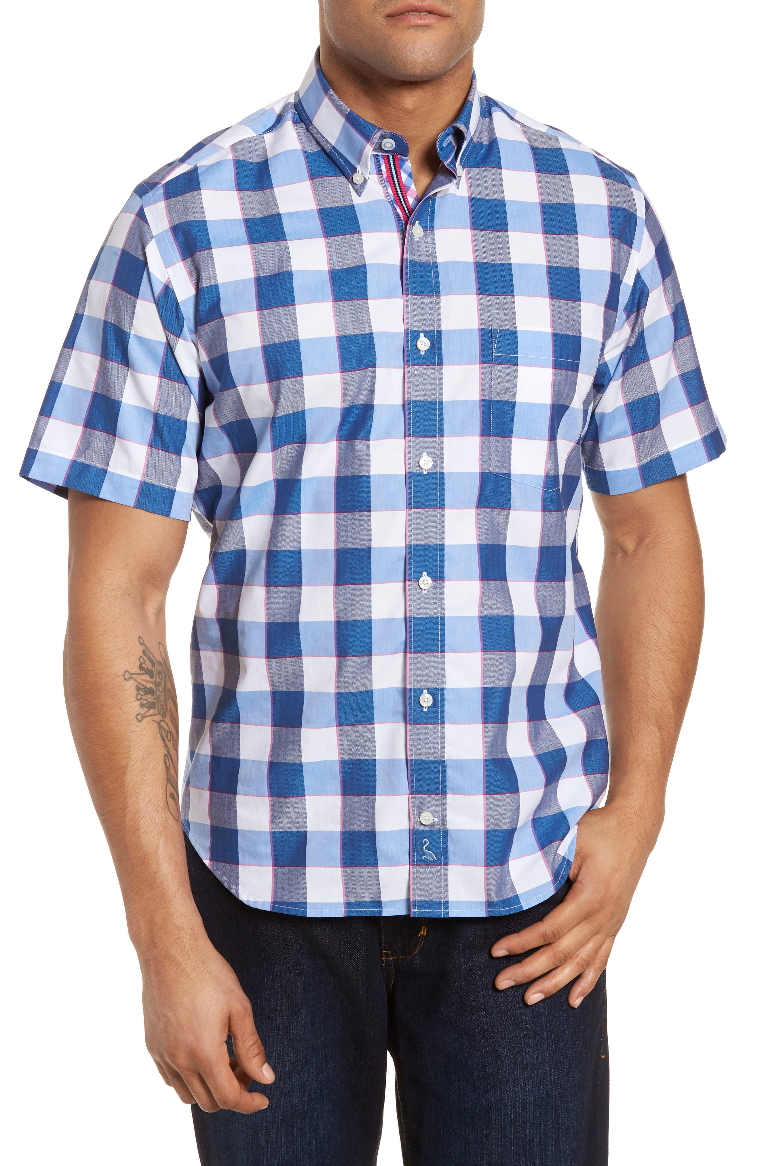 Jeff Regular Fit Check Sport Shirt,                         Main,                         color, Navy