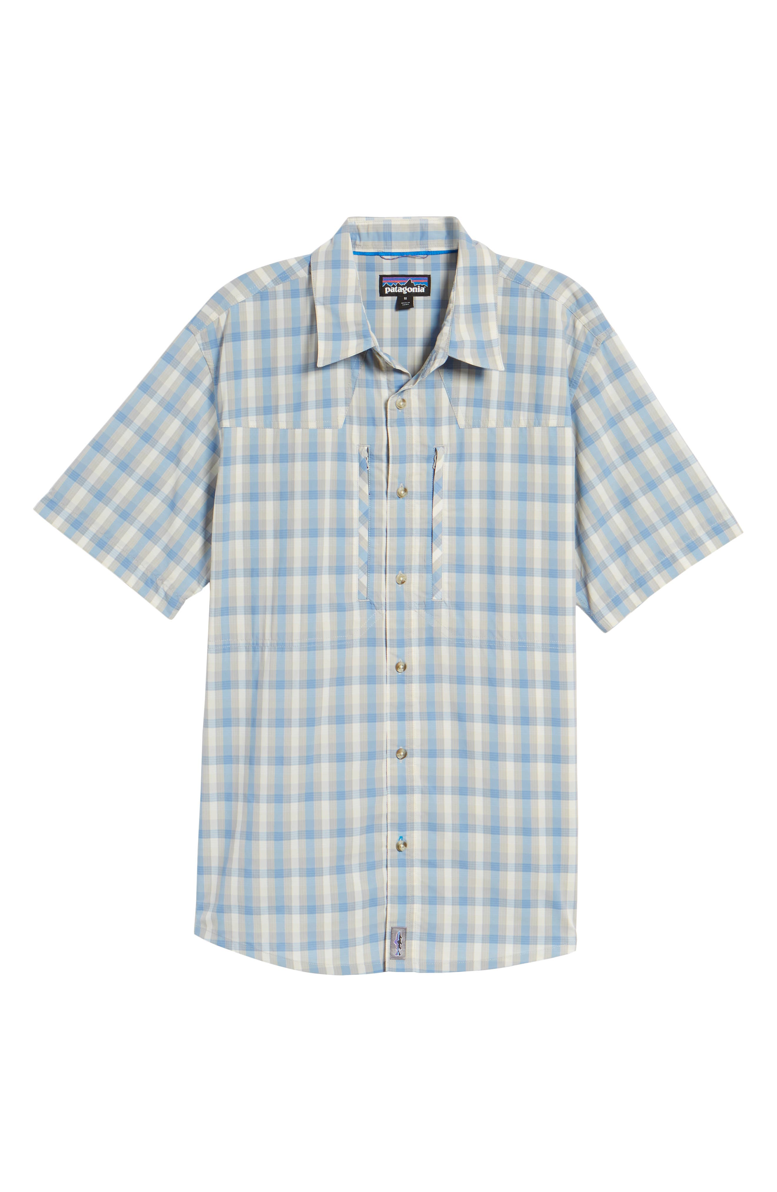 M's Sun Plaid Stretch Hybrid Shirt,                             Alternate thumbnail 6, color,                             Mauro Railroad Blue
