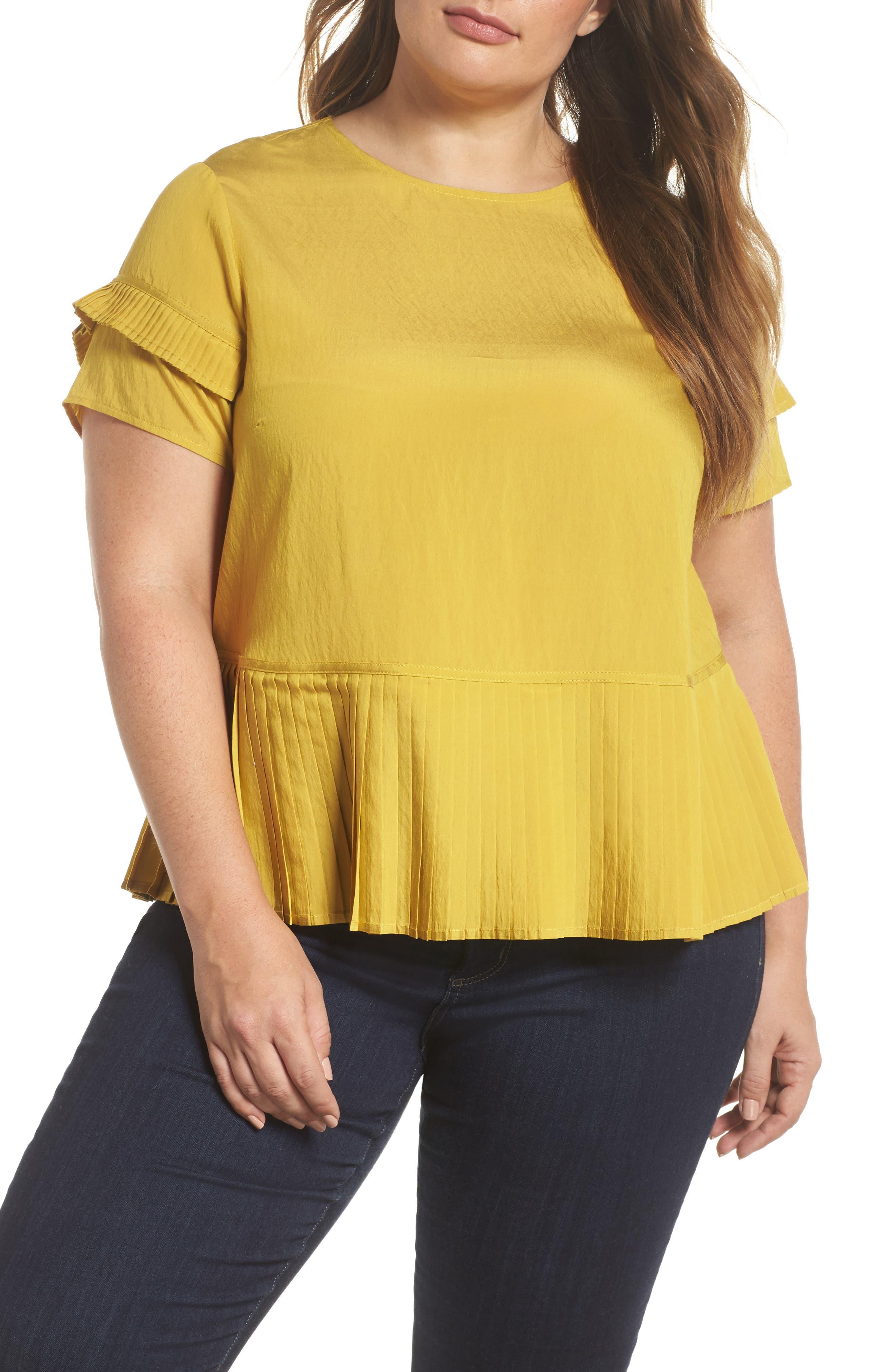 Pleat Ruffle Top,                         Main,                         color, Yellow
