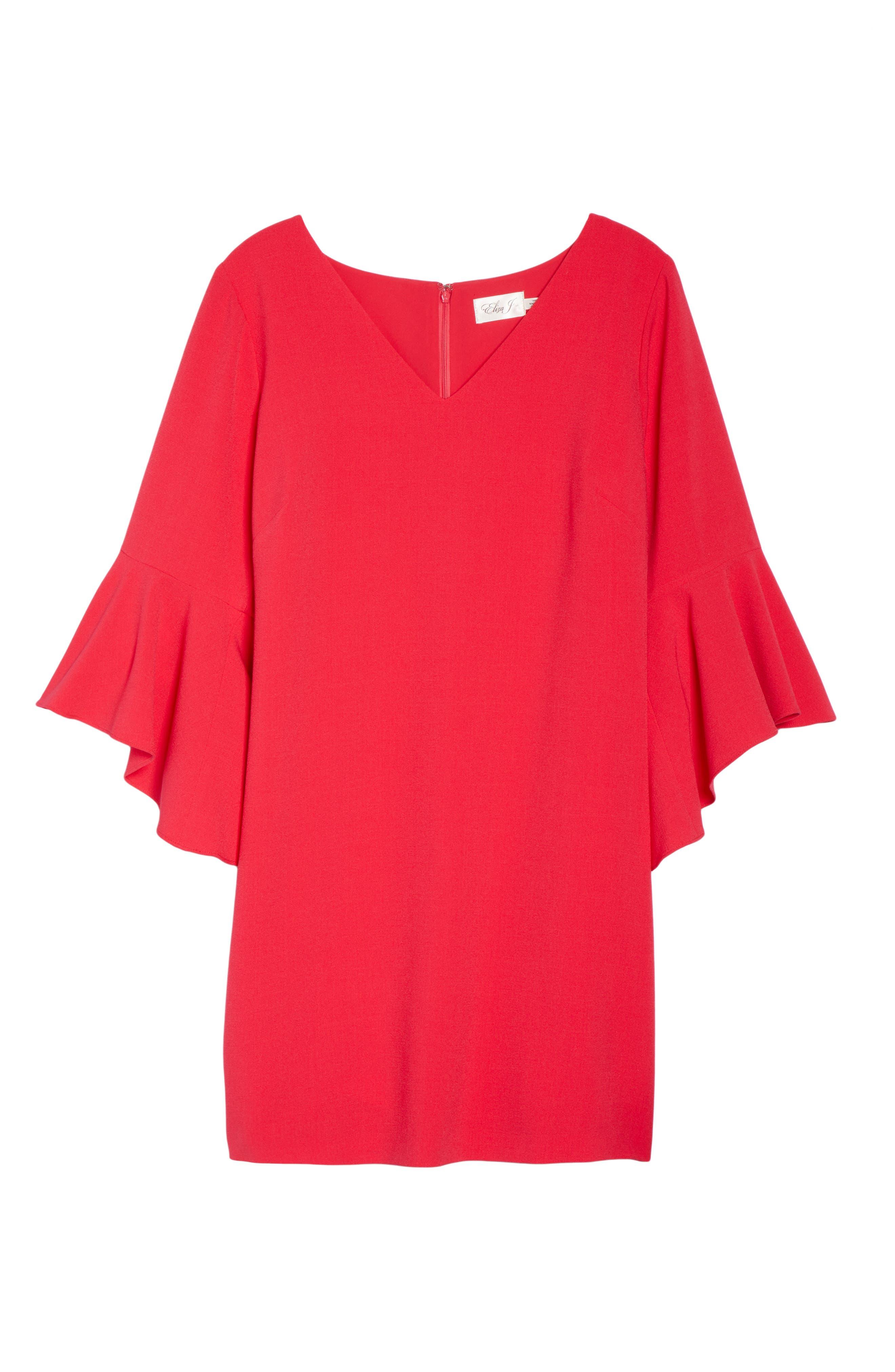 Bell Sleeve Crepe Shift Dress,                             Alternate thumbnail 3, color,                             Pink