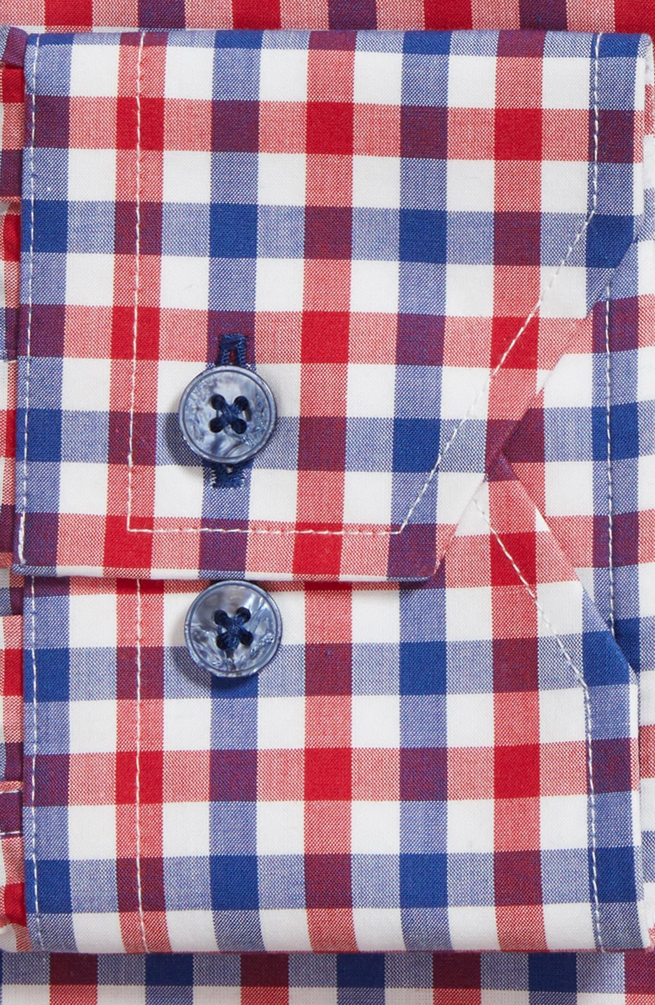Trim Fit Check Dress Shirt,                             Alternate thumbnail 5, color,                             Navy/ Red