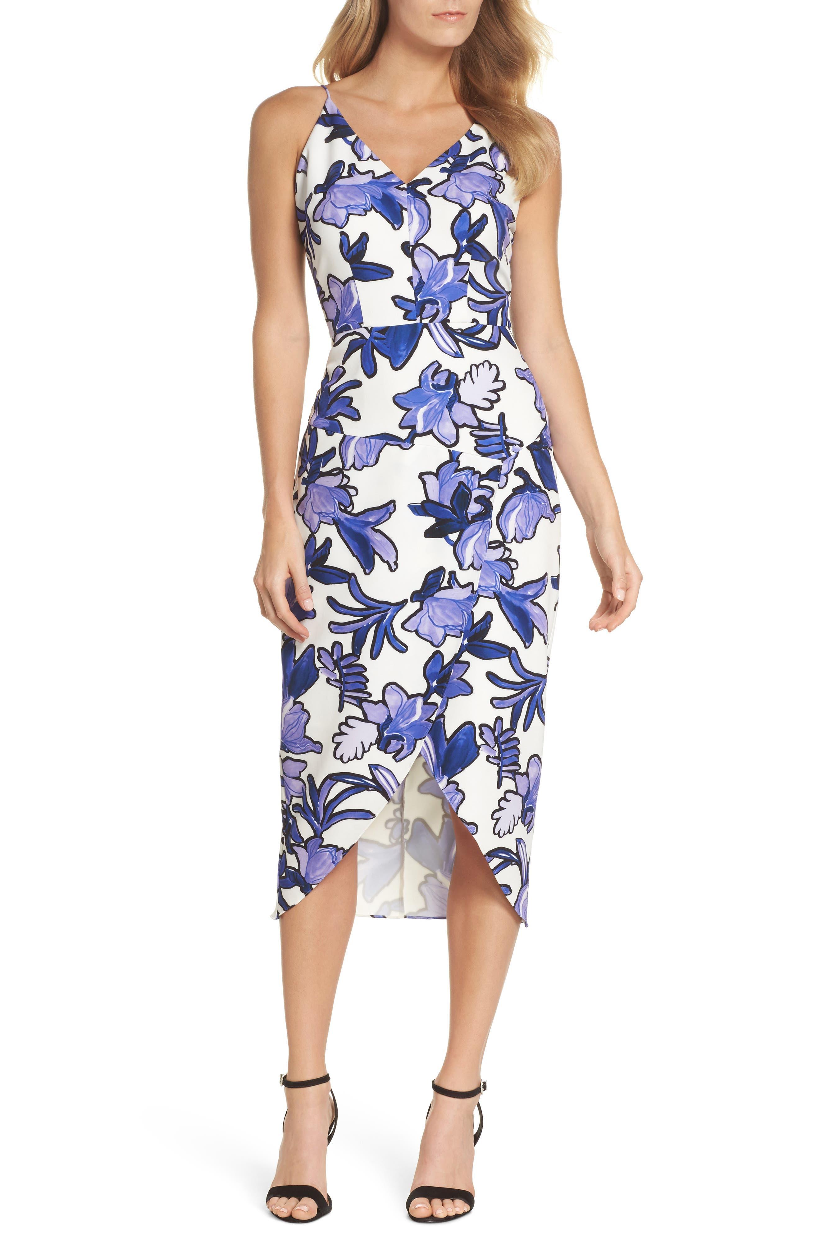 Floral Midi Dress,                             Main thumbnail 1, color,                             Ivory Painted Iris Floral