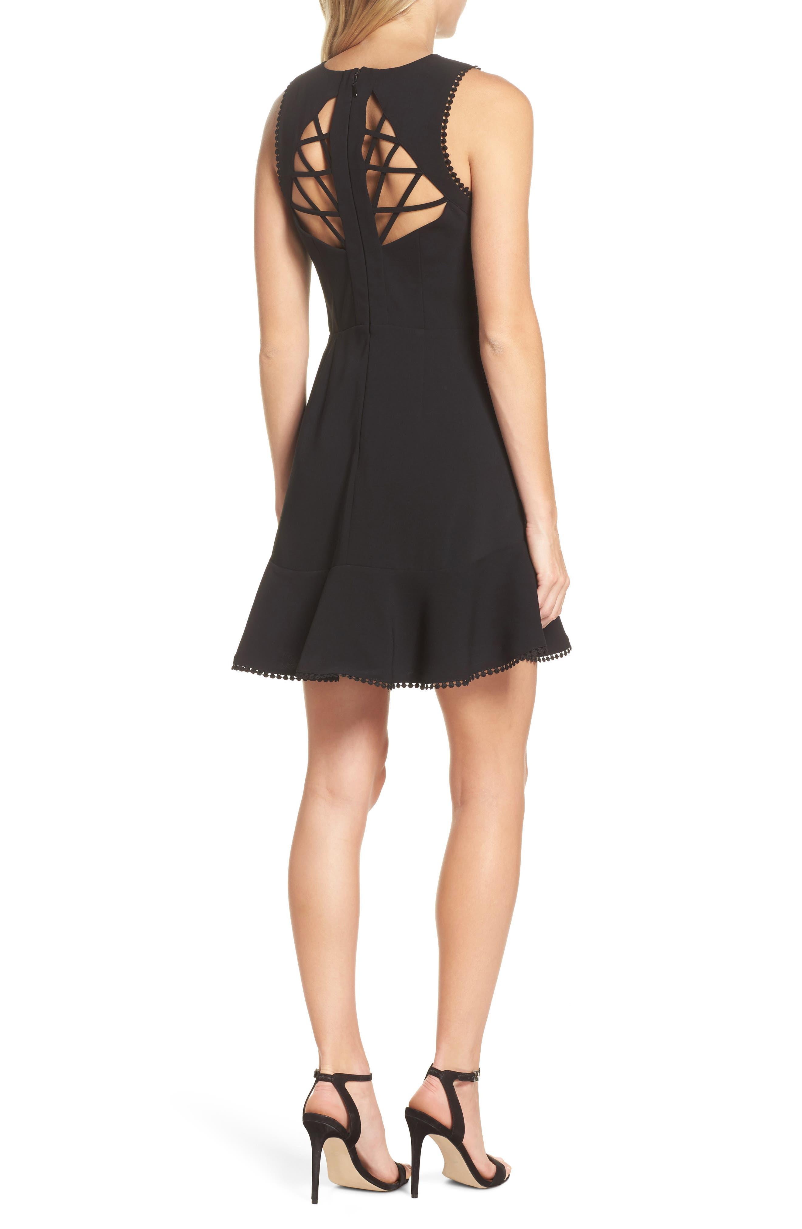 Zahara Cutout Fit & Flare Dress,                             Alternate thumbnail 2, color,                             Black