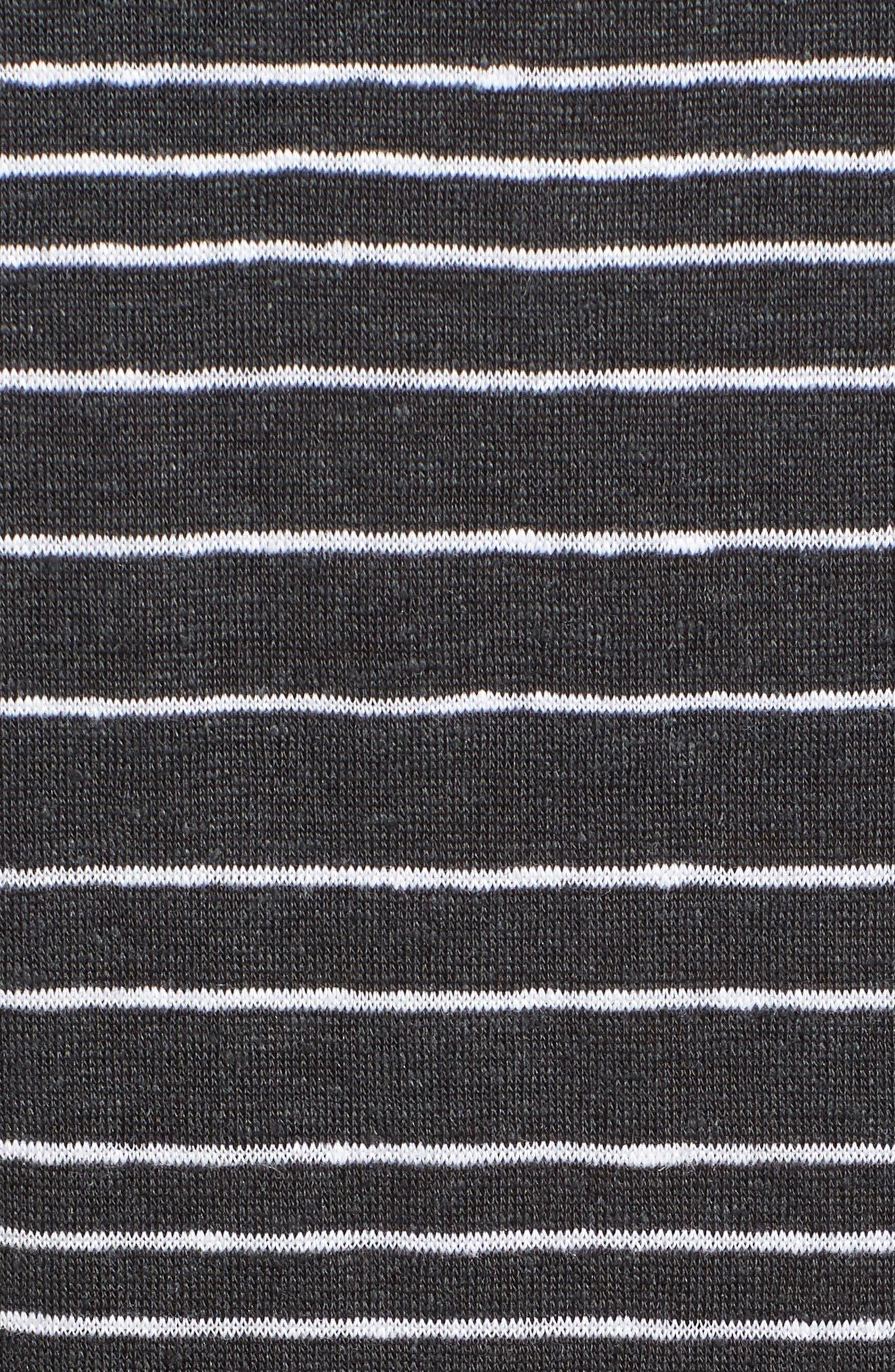 Stripe Organic Linen Tunic,                             Alternate thumbnail 6, color,                             Graphite