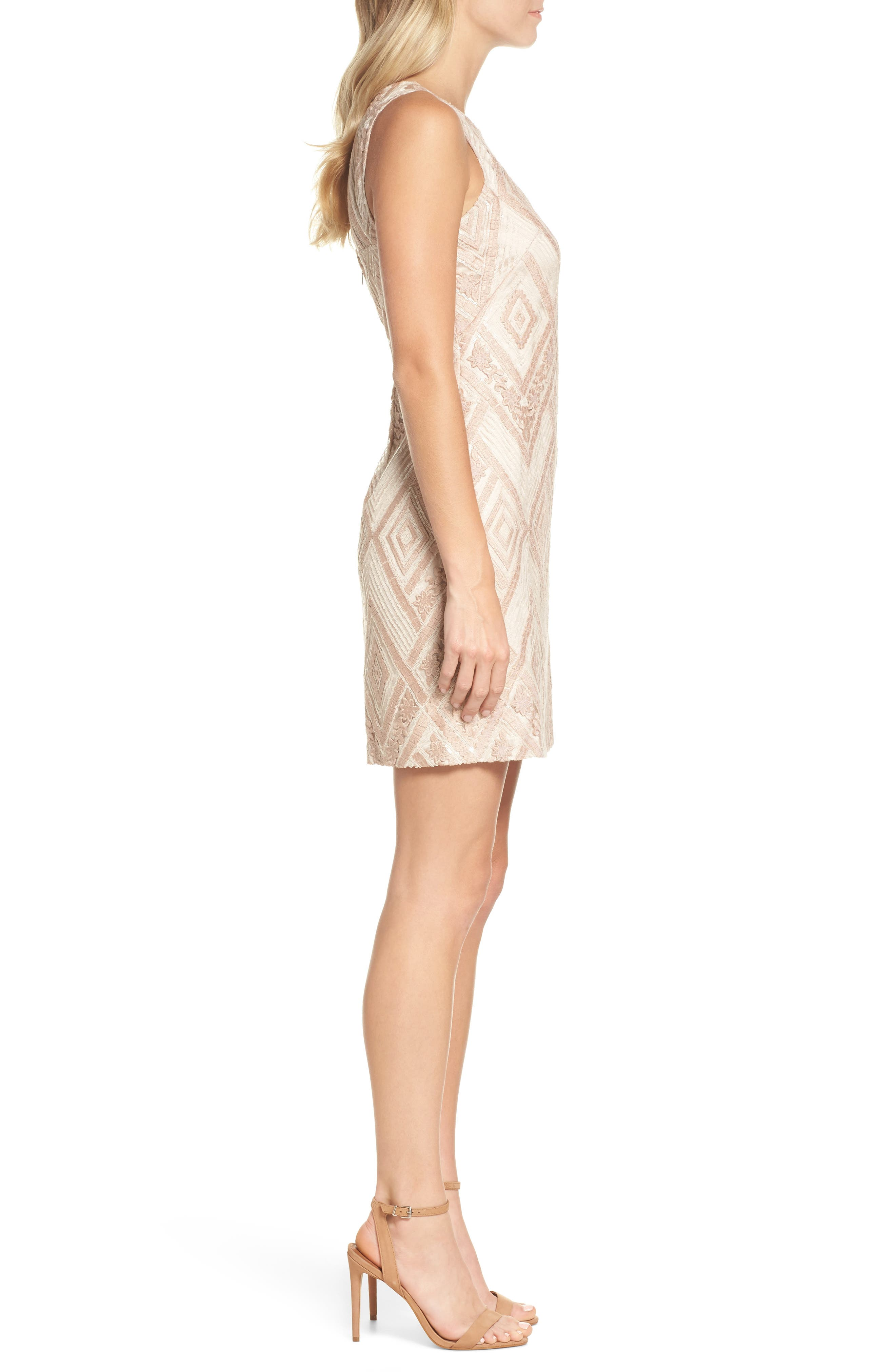 Sequin Embroidered Sheath Dress,                             Alternate thumbnail 3, color,                             Blush