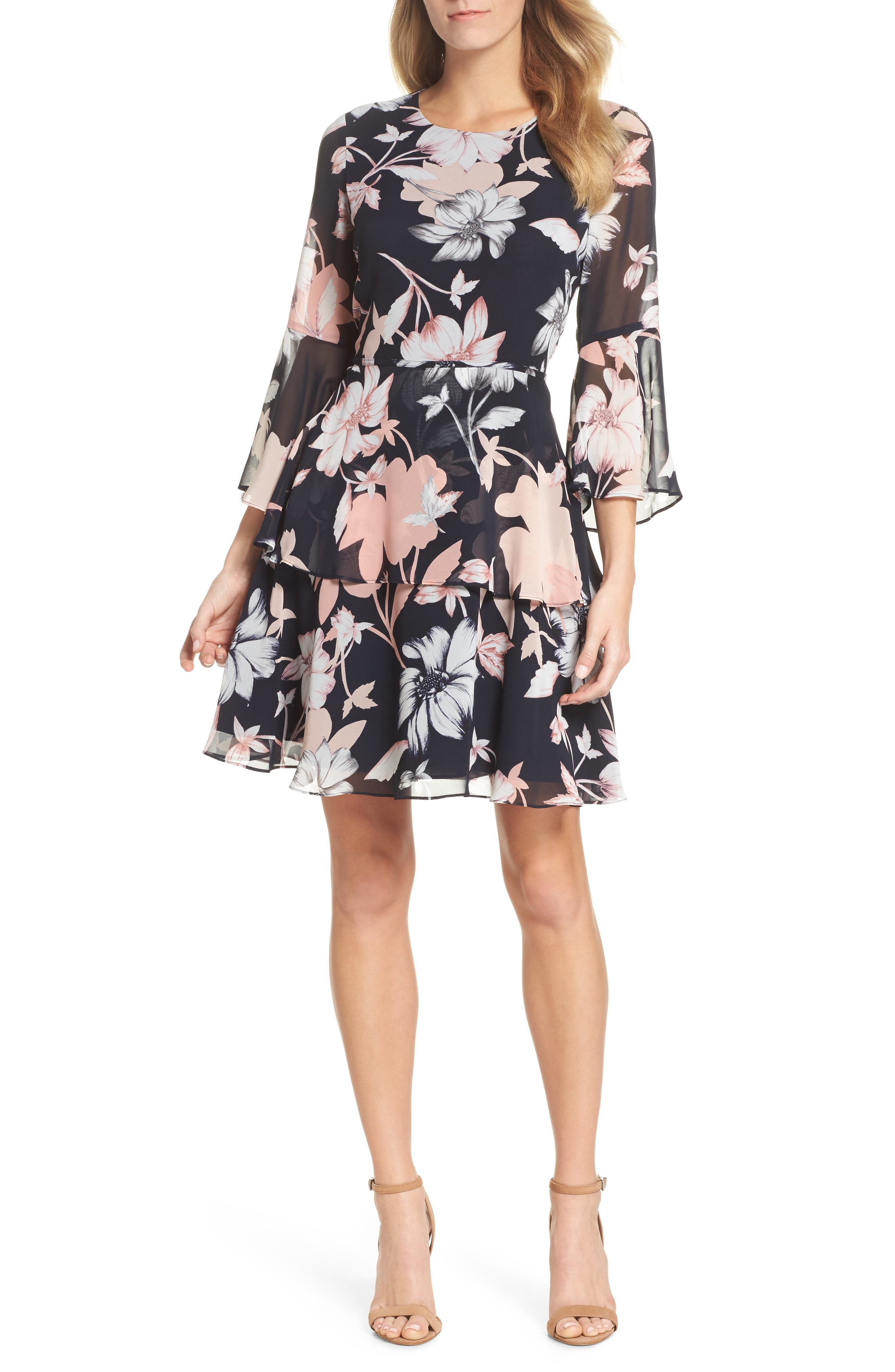 Floral Print Tiered Chiffon Dress,                         Main,                         color, Navy Multi