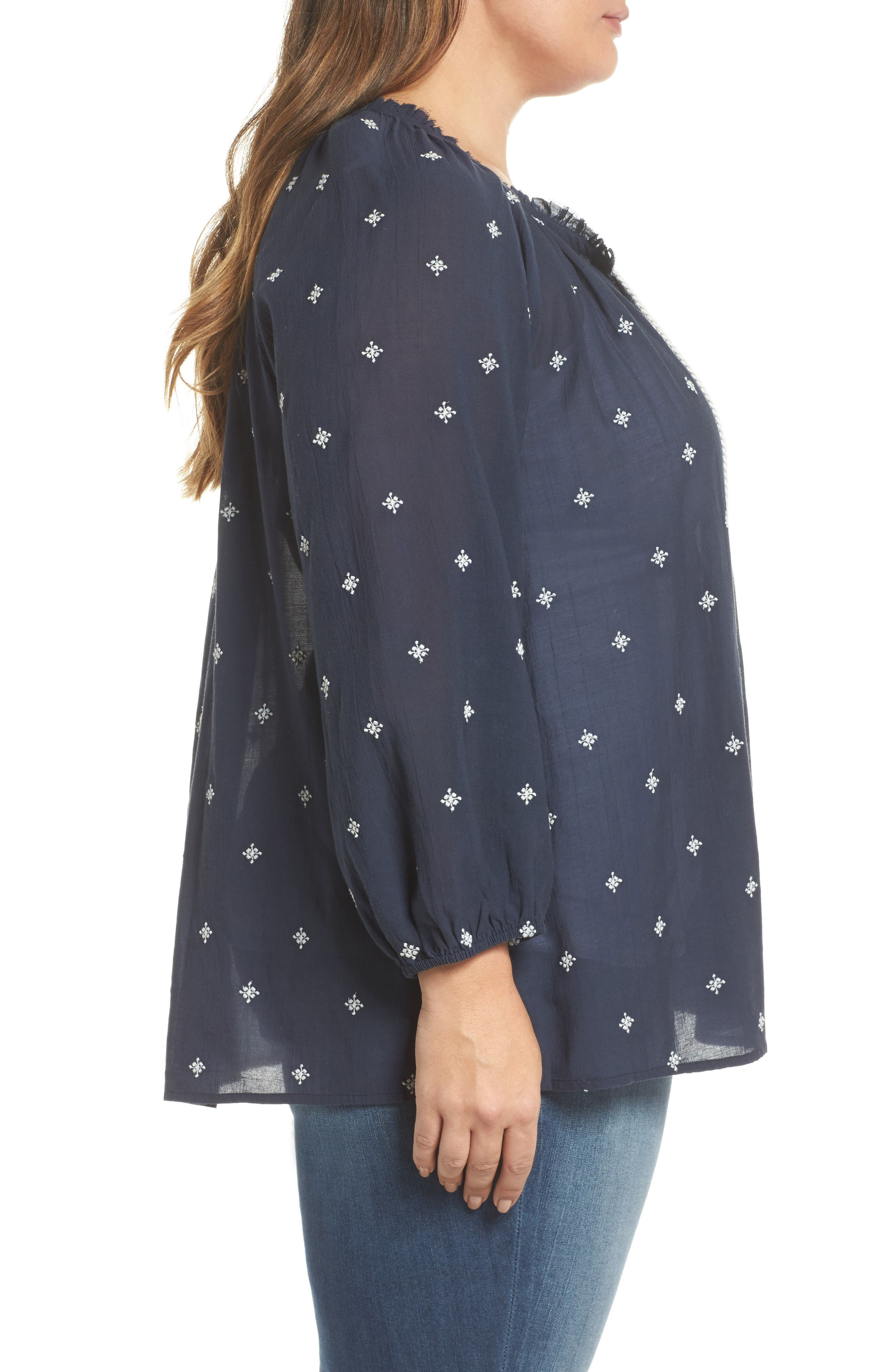 Embroidered Peasant Top,                             Alternate thumbnail 3, color,                             Navy Floral