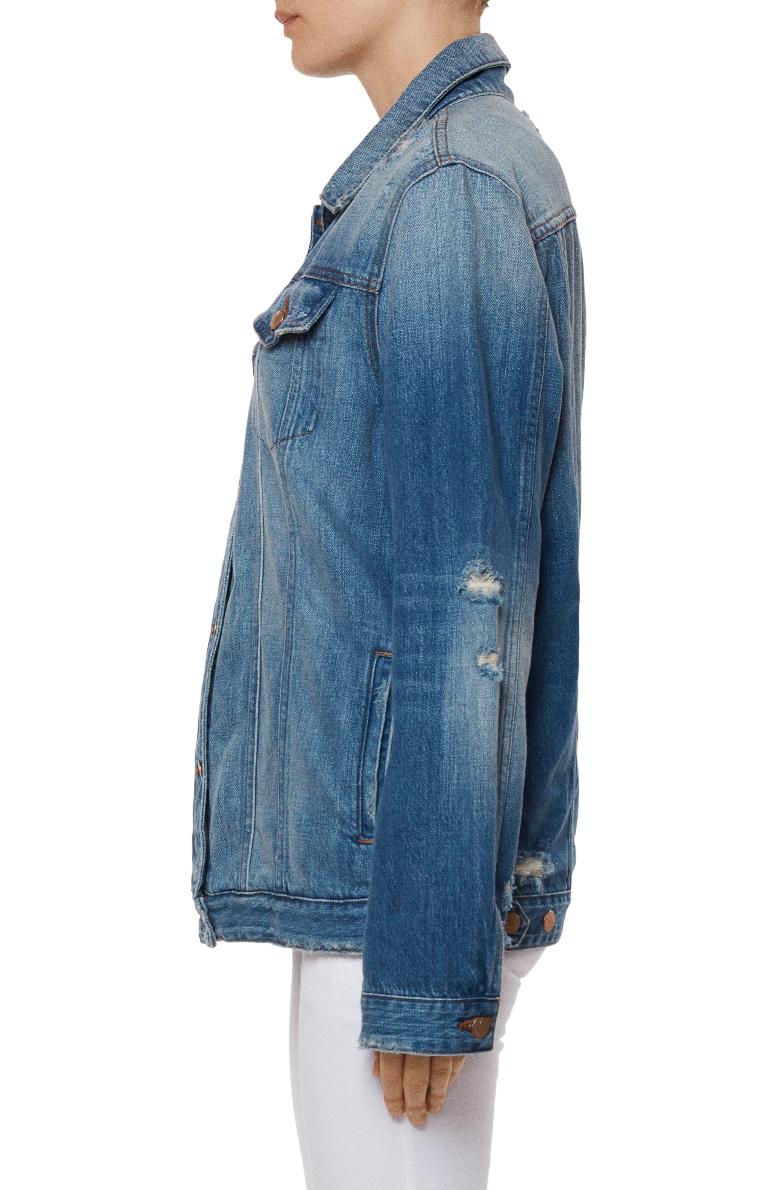 Cyra Oversize Denim Jacket,                             Alternate thumbnail 3, color,                             Broken Heart