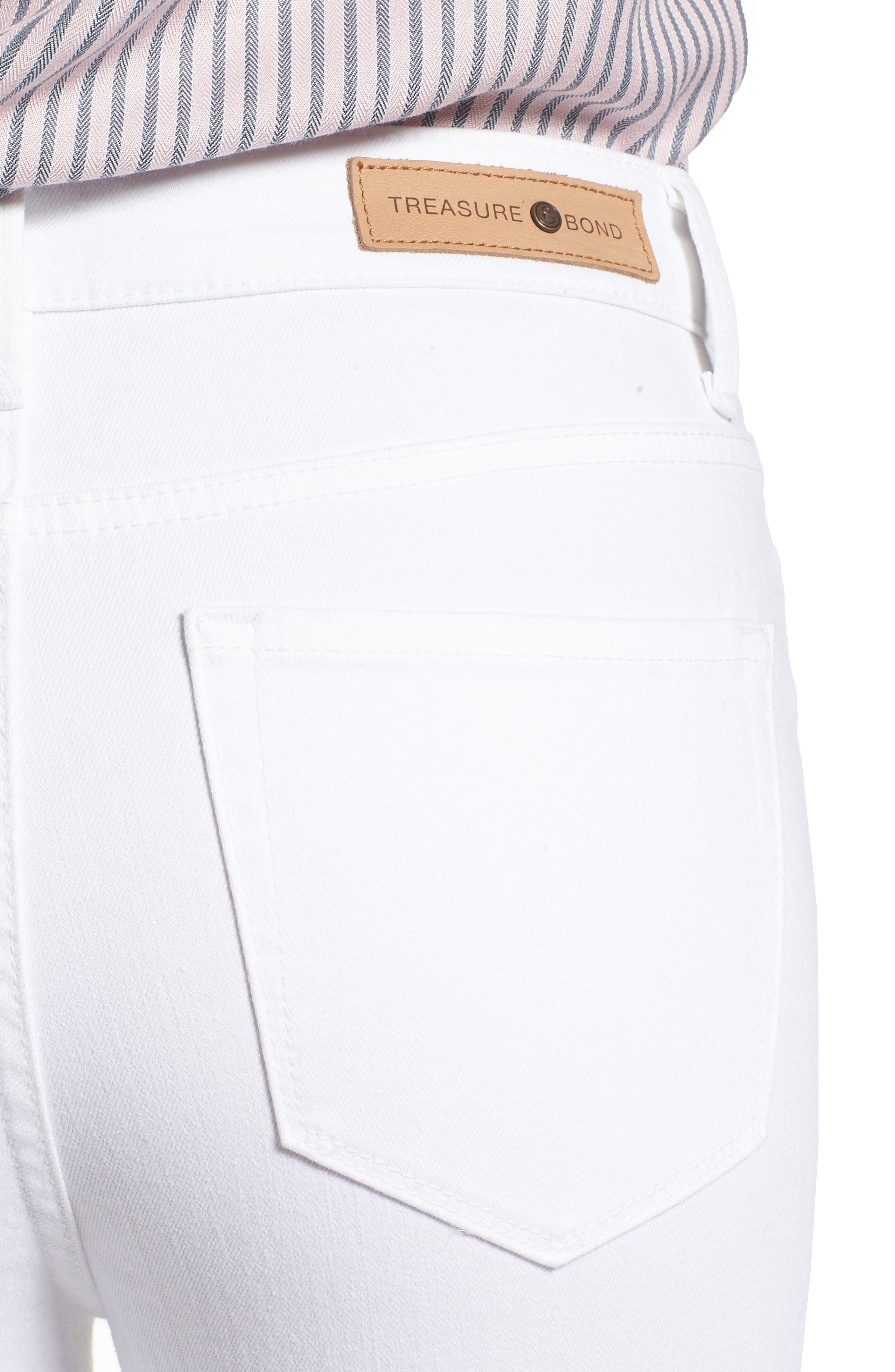 Charity High Waist Crop Skinny Jeans,                             Alternate thumbnail 4, color,                             White