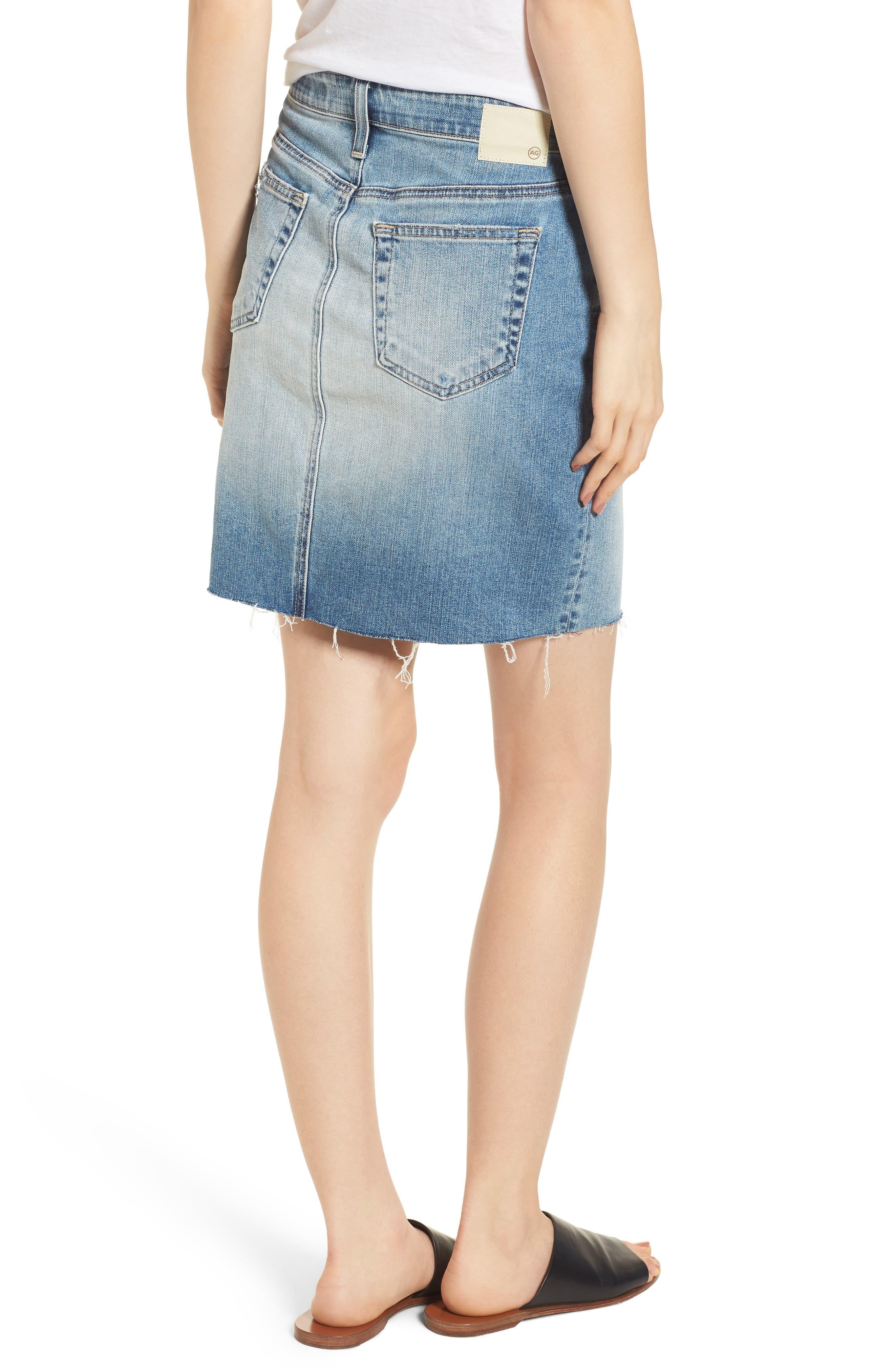 The Erin Distressed Denim Miniskirt,                             Alternate thumbnail 2, color,                             Indigo Deluge Destructed