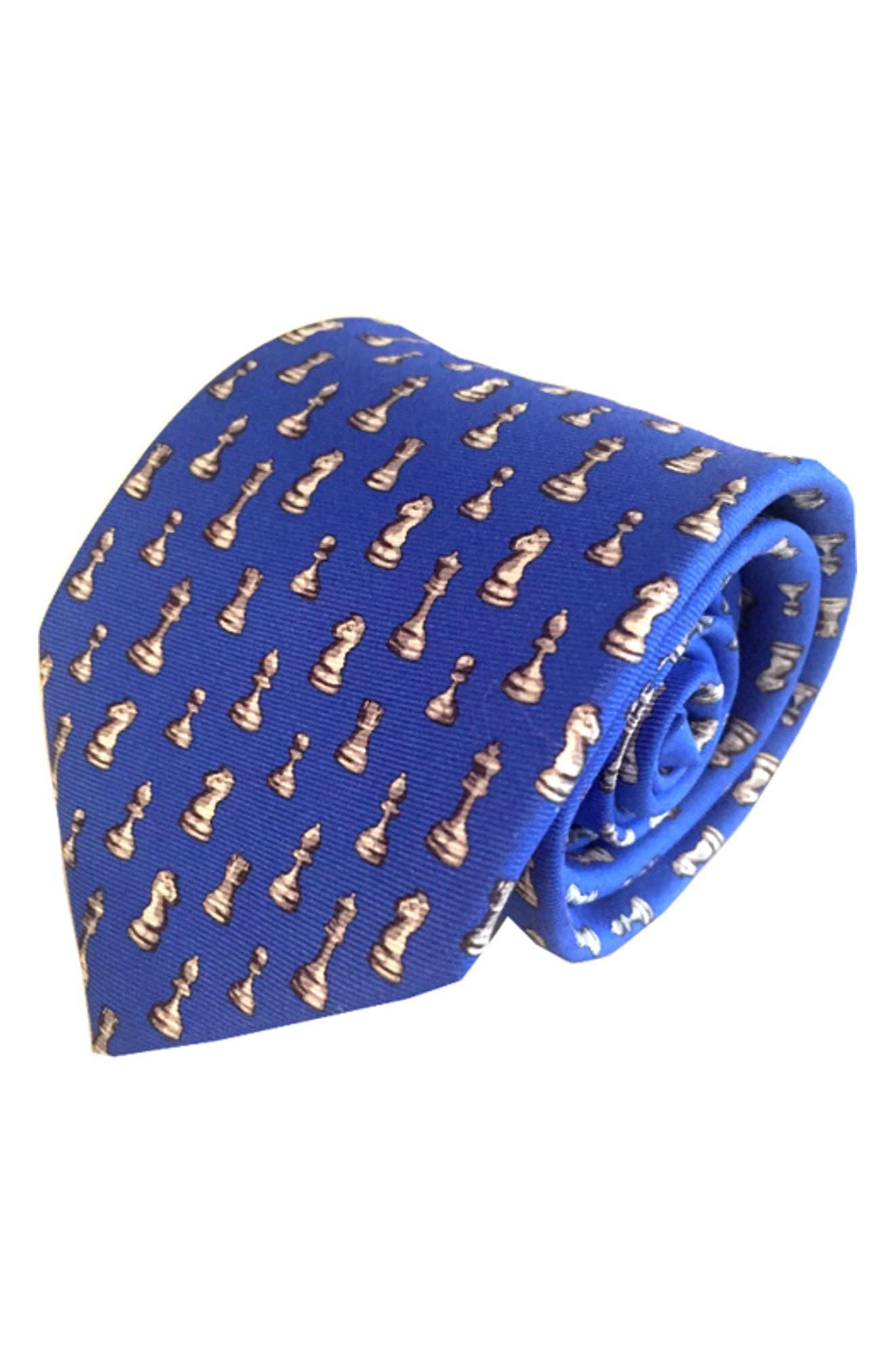 Checkmate Silk Tie,                         Main,                         color, Blue
