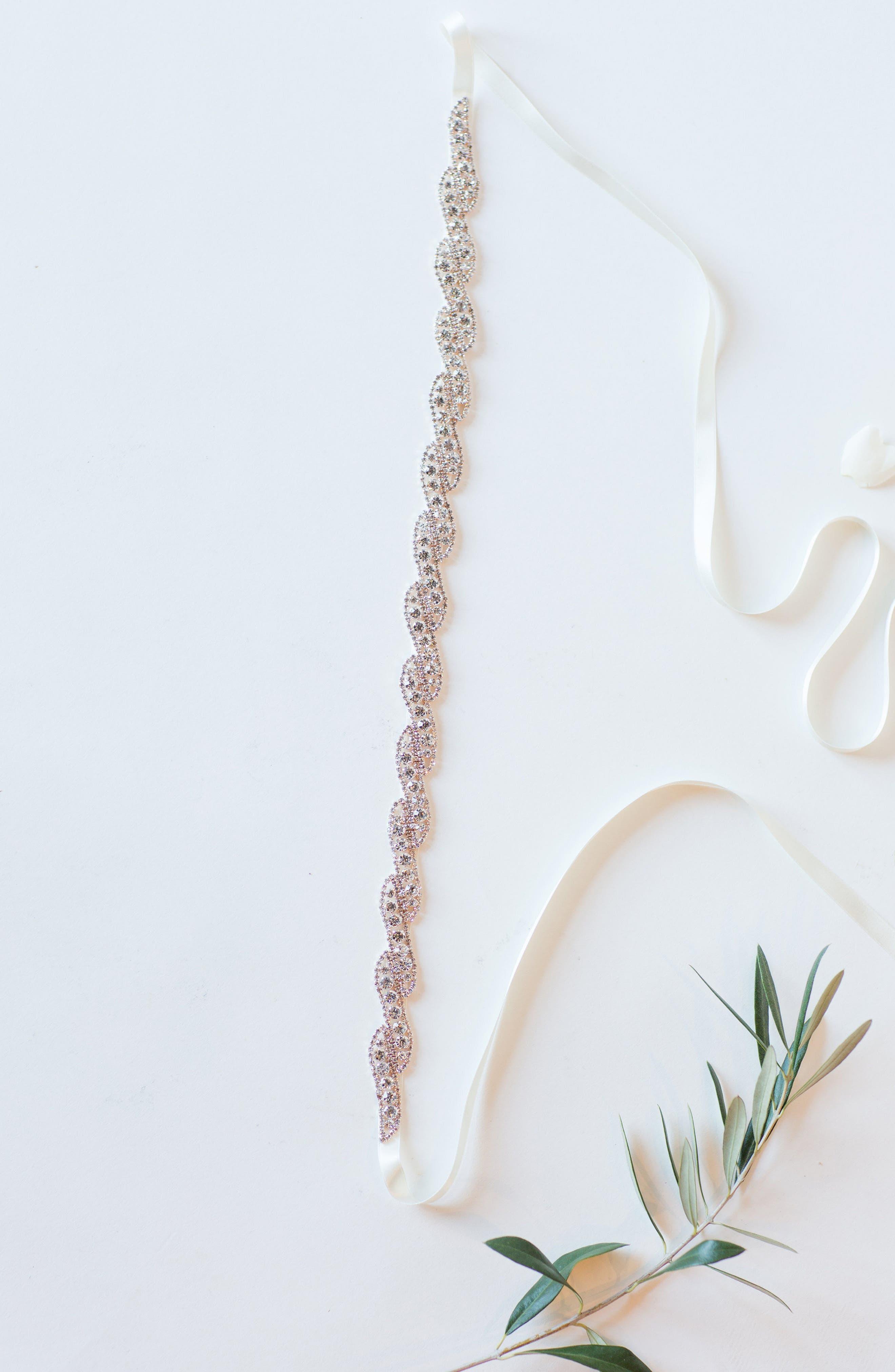 Aliza Crystal Overlay Belt,                             Main thumbnail 1, color,                             Rose Gold