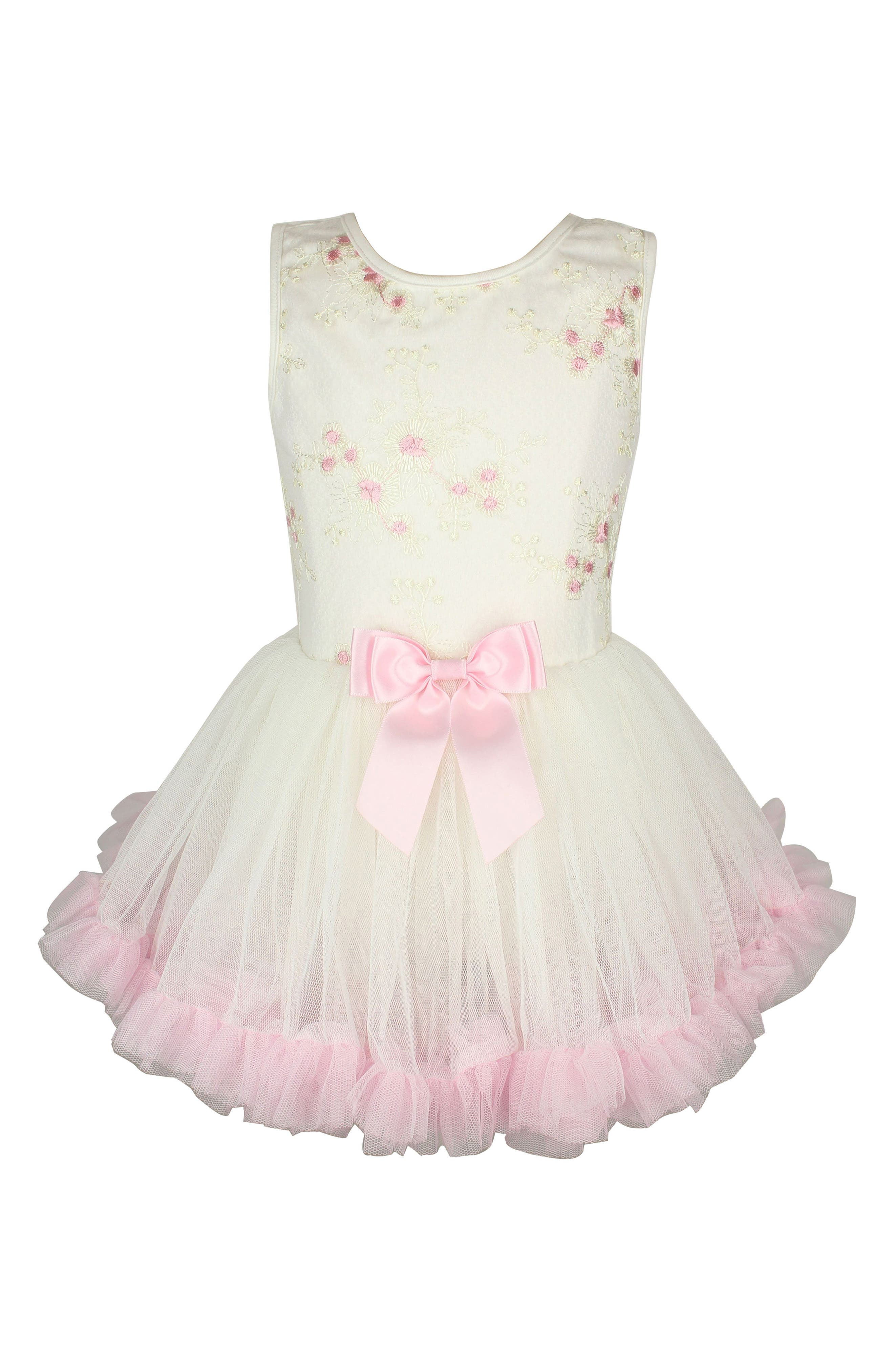 Embroidered Flower Pettidress,                         Main,                         color, White