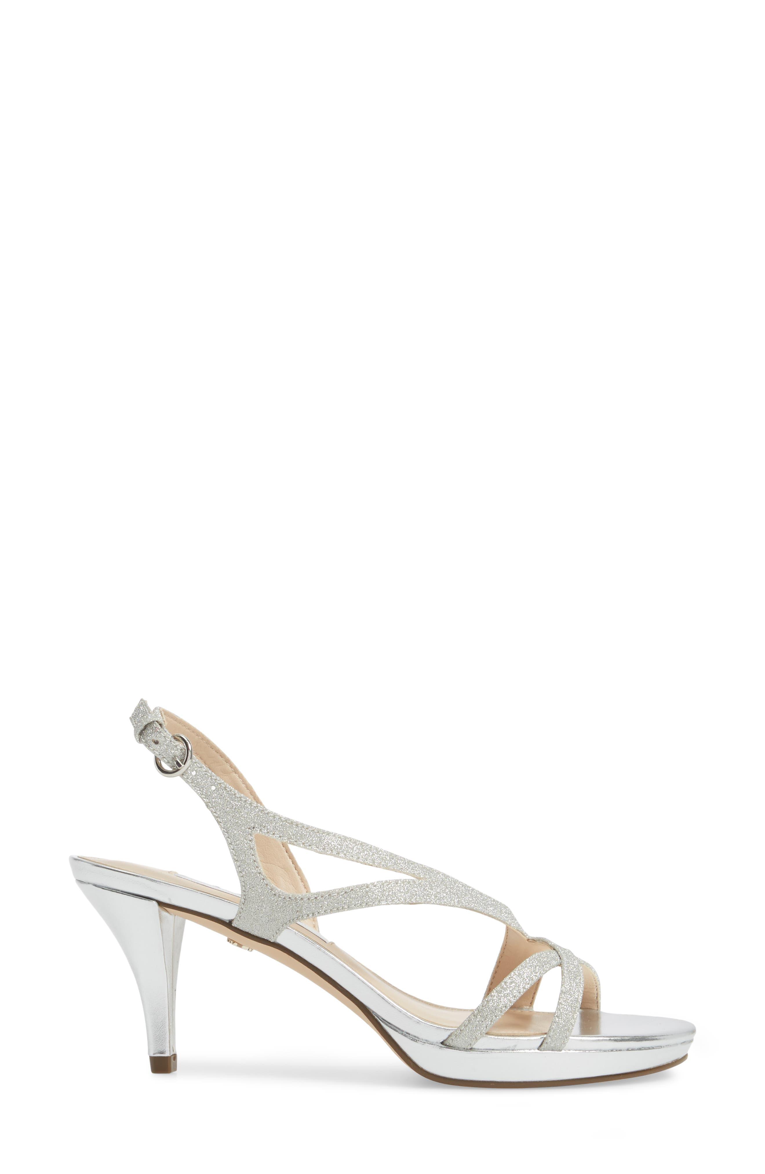 Nura Sandal,                             Alternate thumbnail 3, color,                             Silver Glitter Fabric