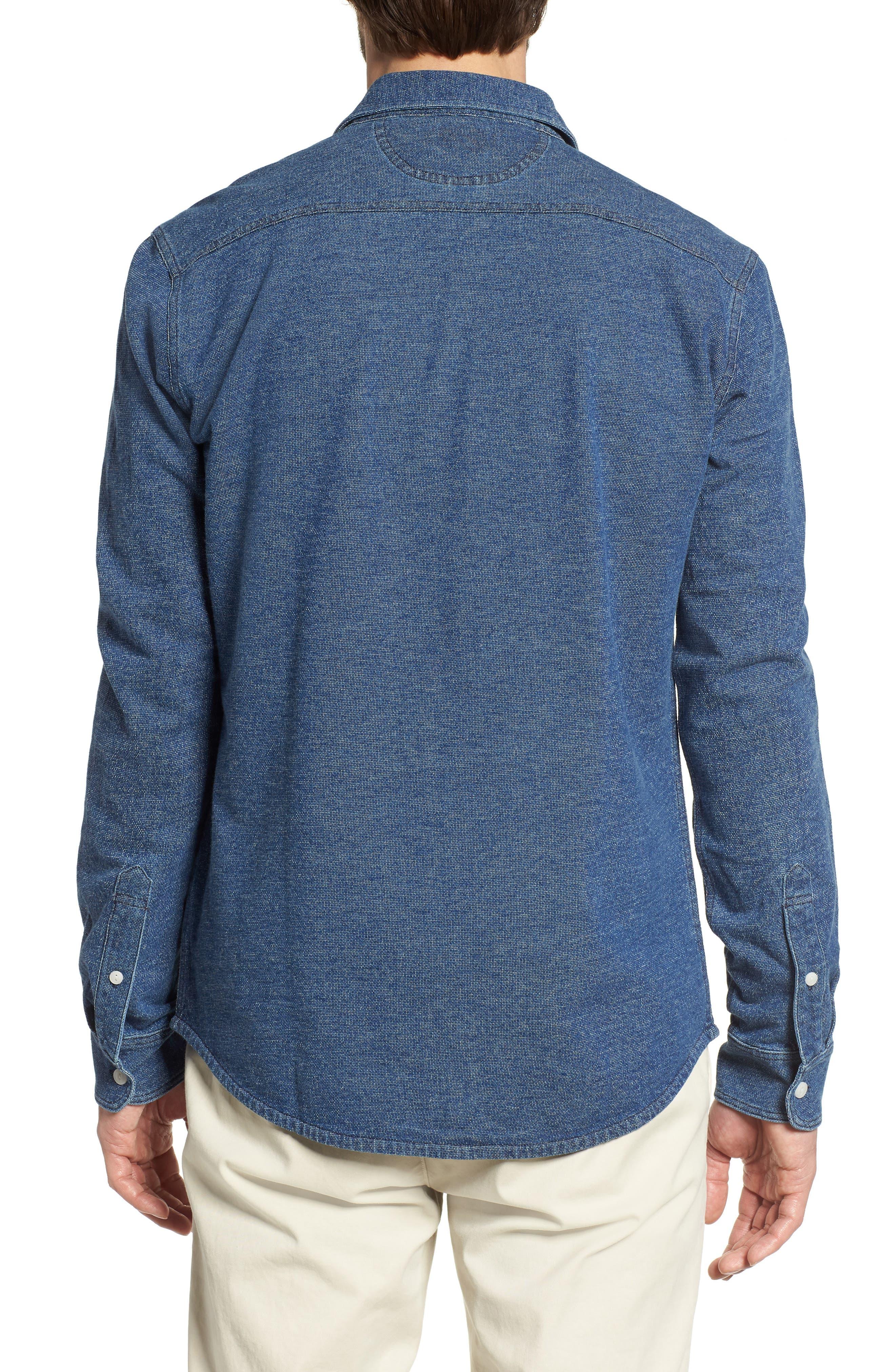 Belmar Chambray Knit Sport Shirt,                             Alternate thumbnail 2, color,                             Medium Wash Indigo