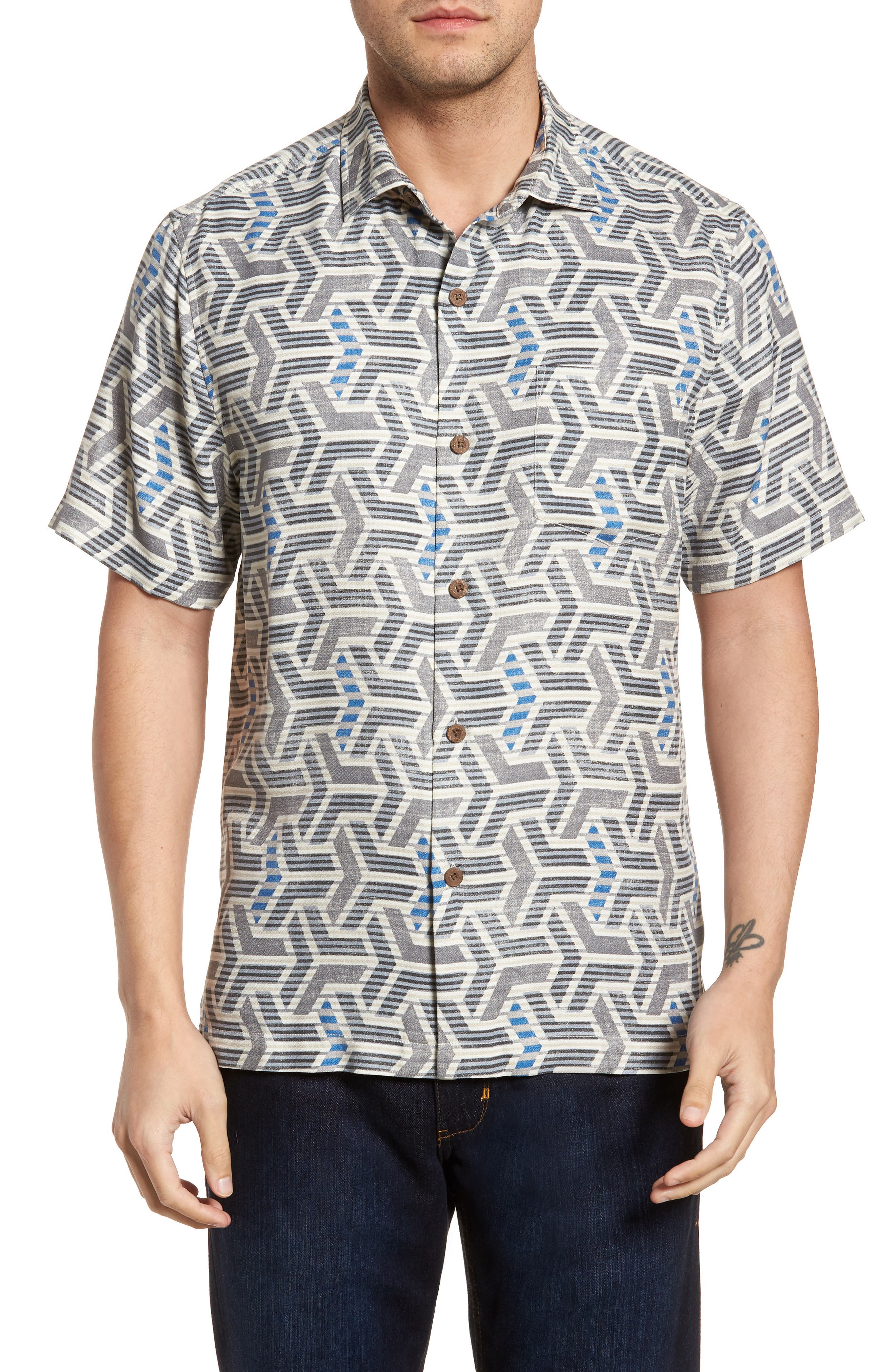 Wellington Geometric Silk Blend Camp Shirt,                         Main,                         color, Fog Grey