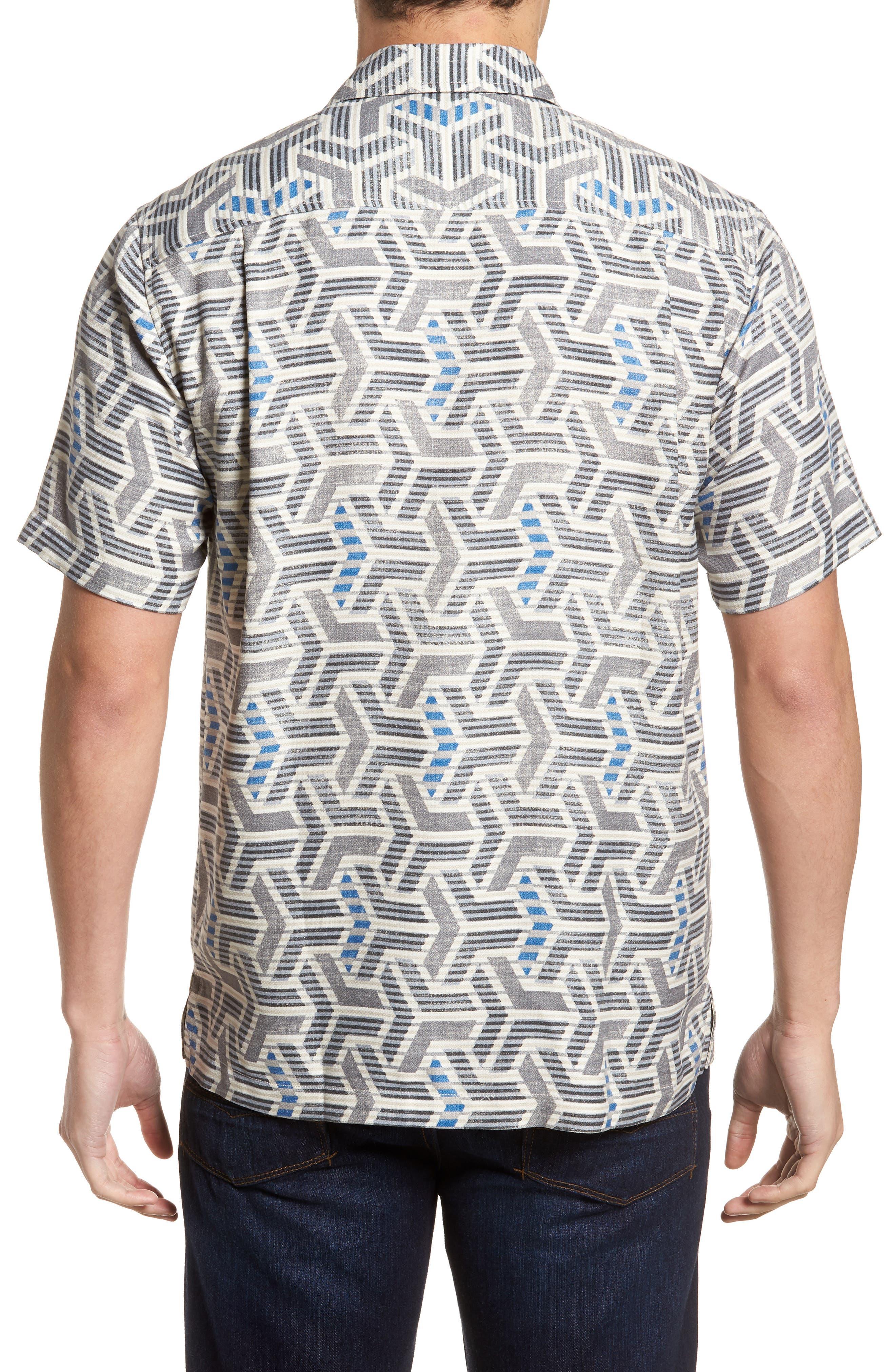 Wellington Geometric Silk Blend Camp Shirt,                             Alternate thumbnail 2, color,                             Fog Grey