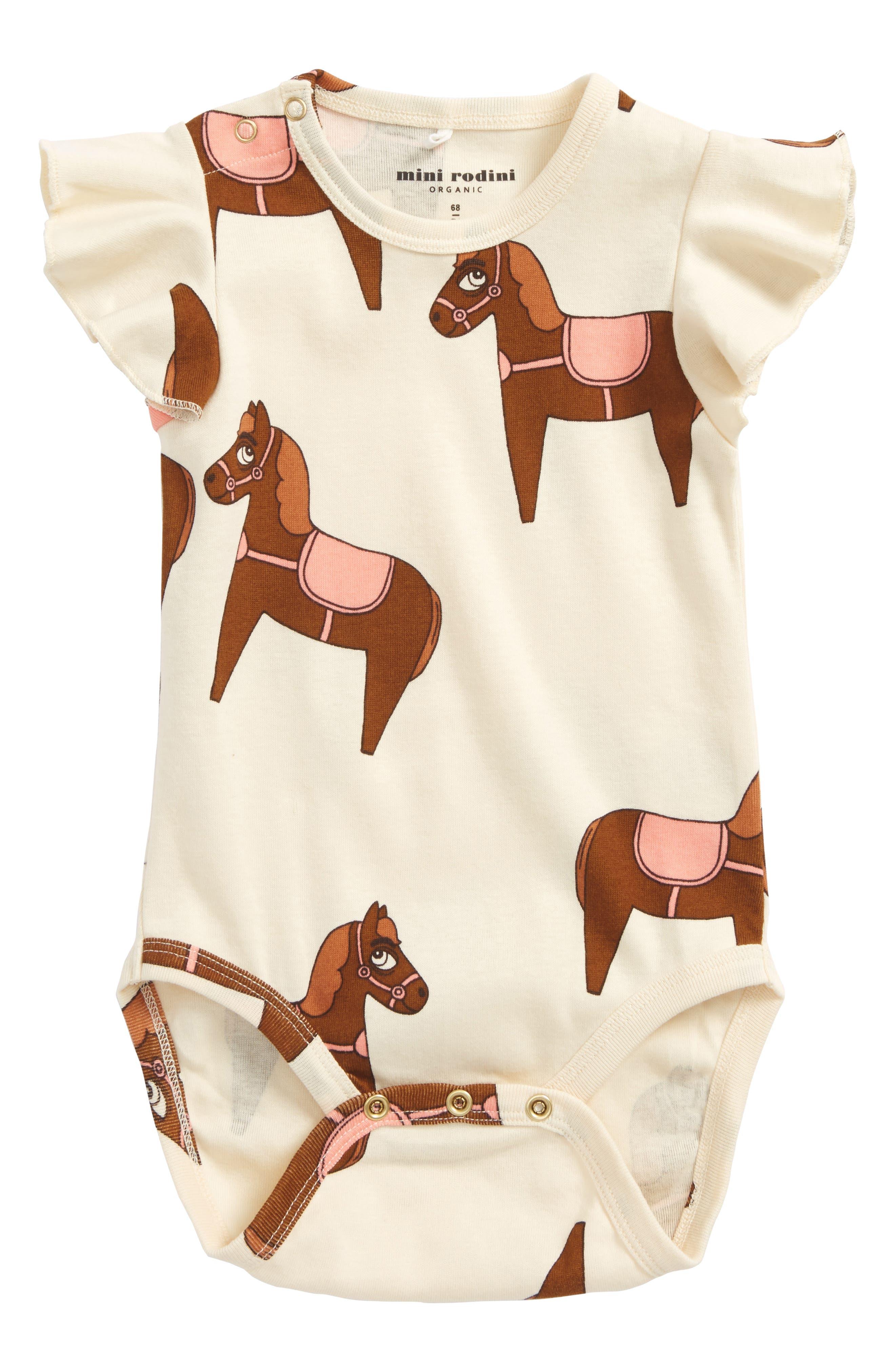 Horse Organic Cotton Bodysuit,                             Main thumbnail 1, color,                             Pink