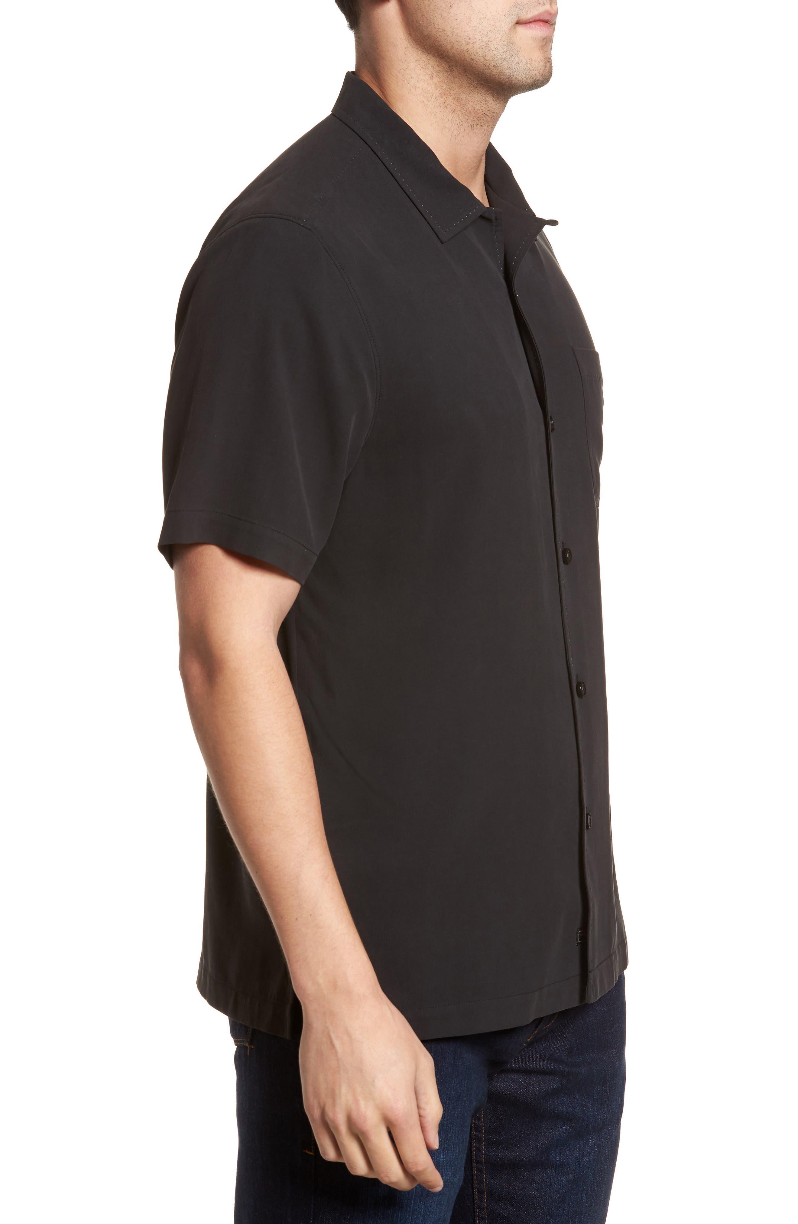 Catalina Twill Sport Shirt,                             Alternate thumbnail 3, color,                             Black