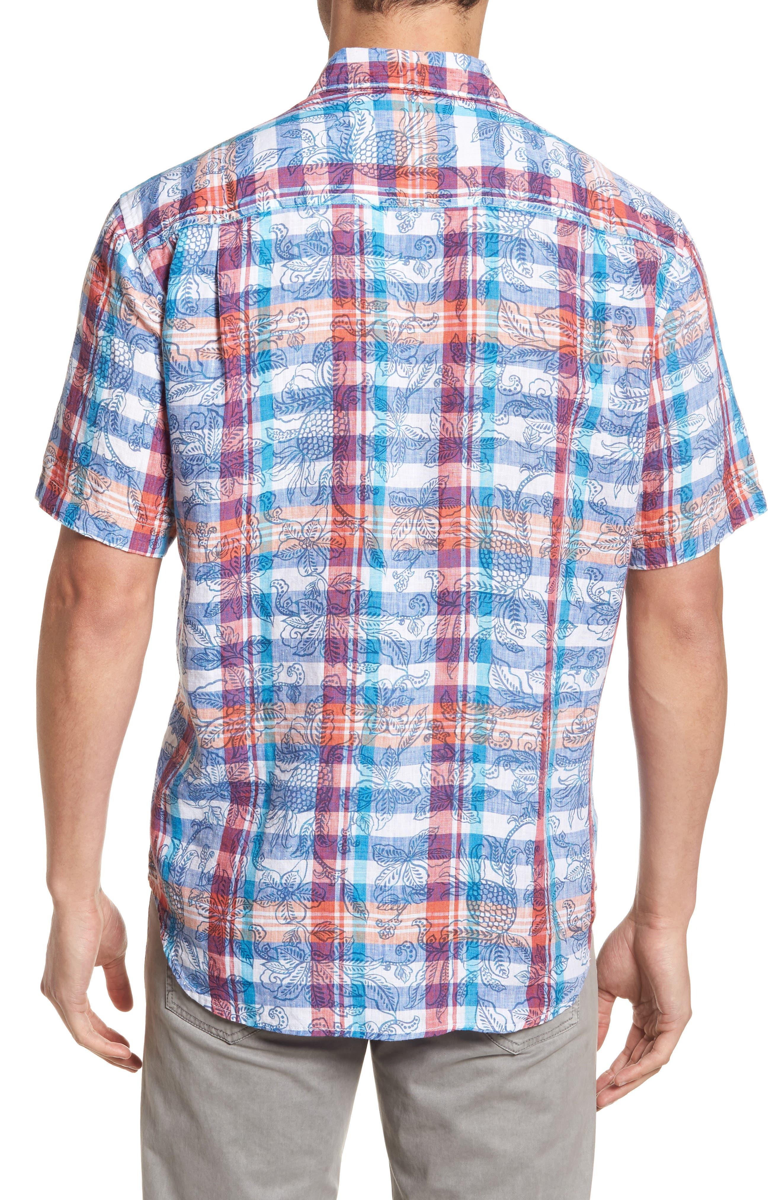 Tropico Madras Linen Sport Shirt,                             Alternate thumbnail 2, color,                             Cobalt Sea