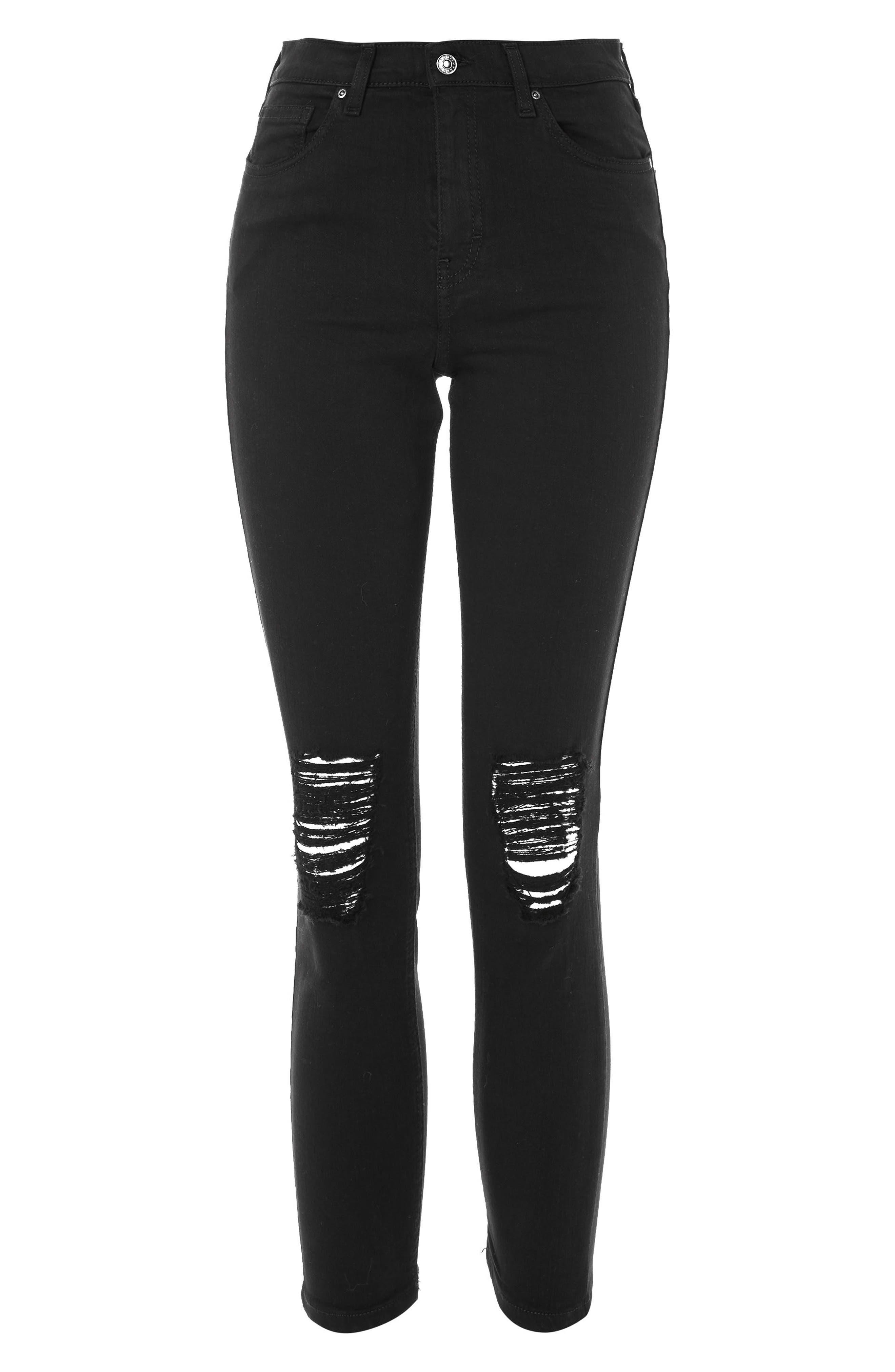 Ripped Petite Jamie Jeans,                             Alternate thumbnail 4, color,                             Black