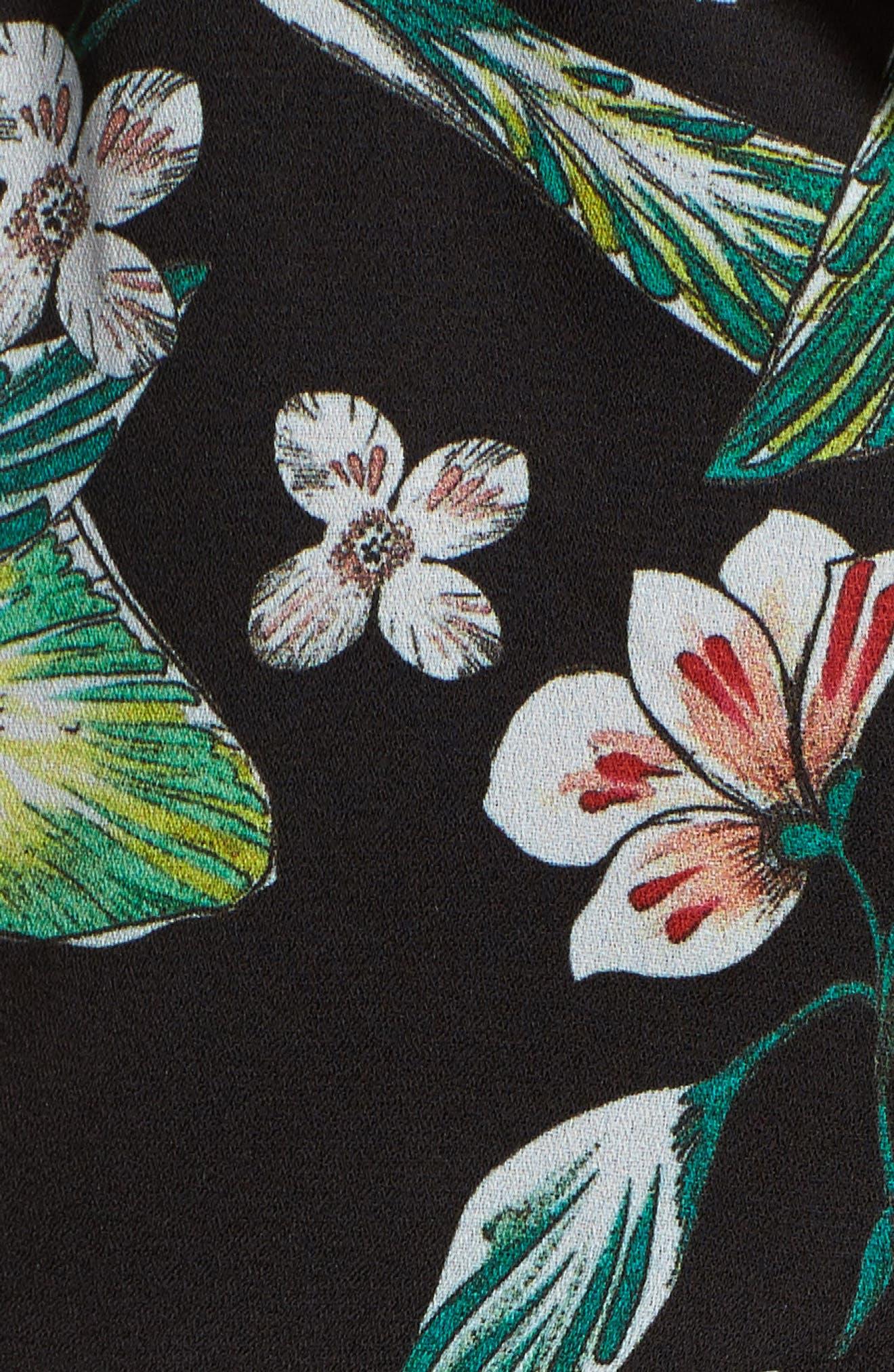 Kimi Floral Jumpsuit,                             Alternate thumbnail 5, color,                             Black Multi