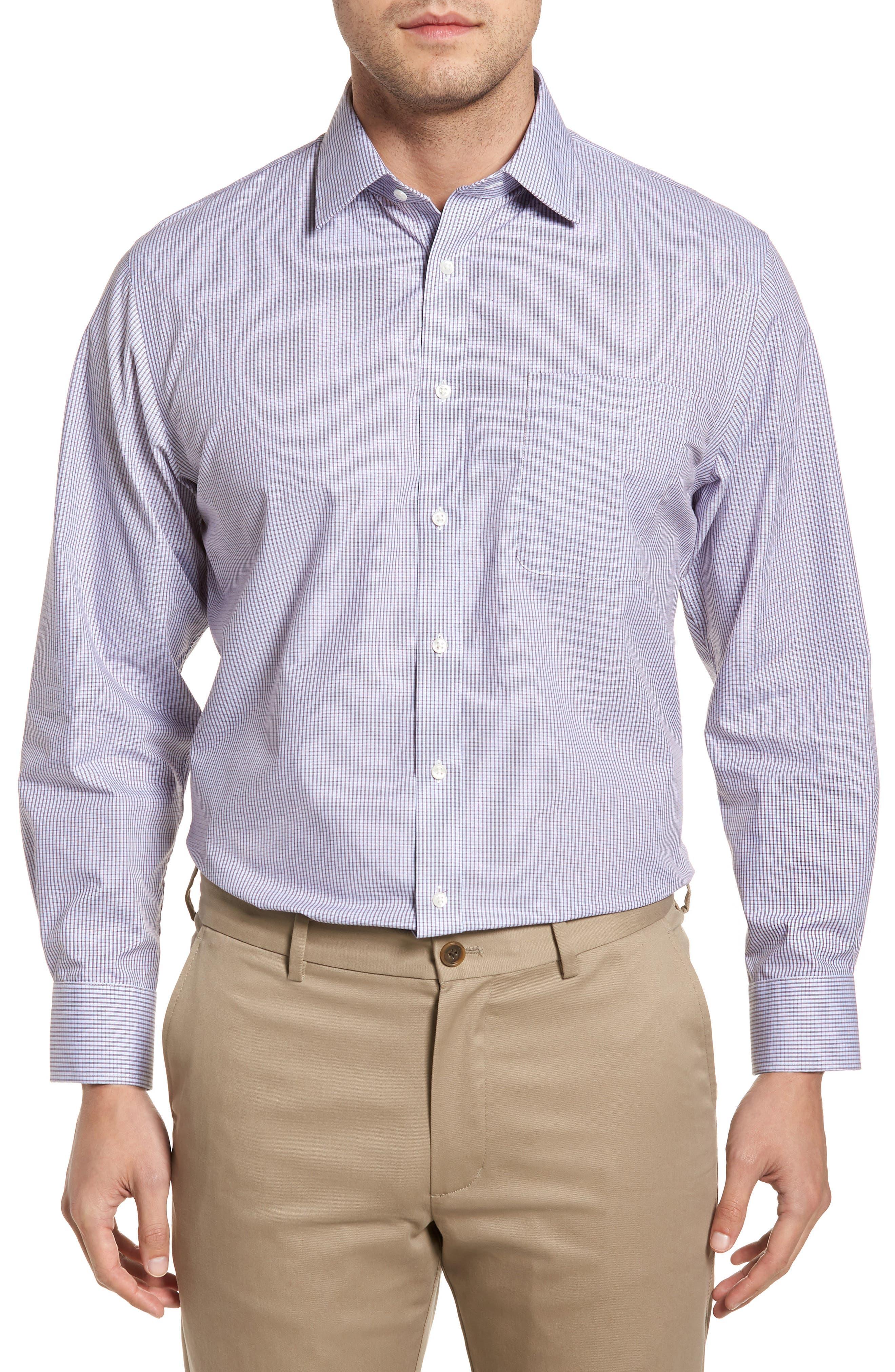 Traditional Fit Non-Iron Check Dress Shirt,                             Main thumbnail 1, color,                             Burgundy Royale