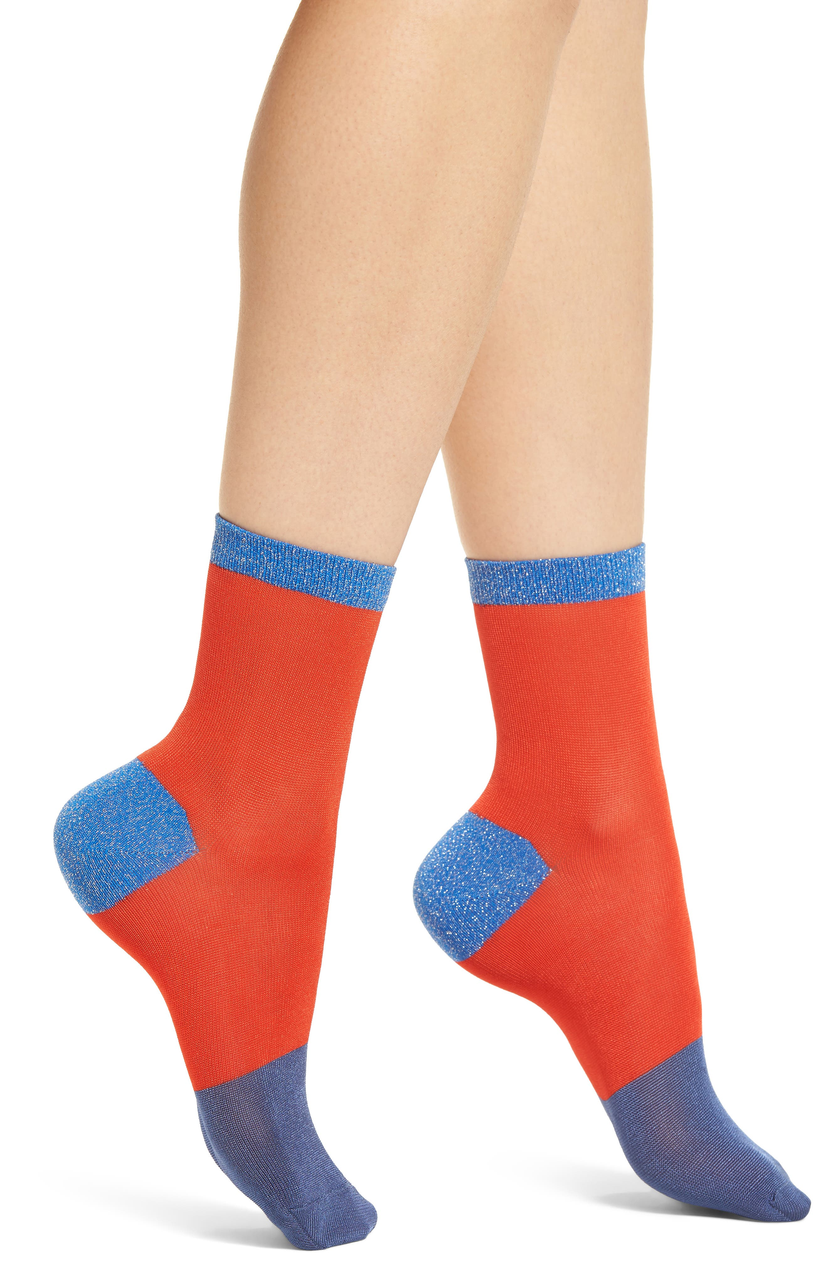 Liza Sparkle Ankle Socks,                             Main thumbnail 1, color,                             Red