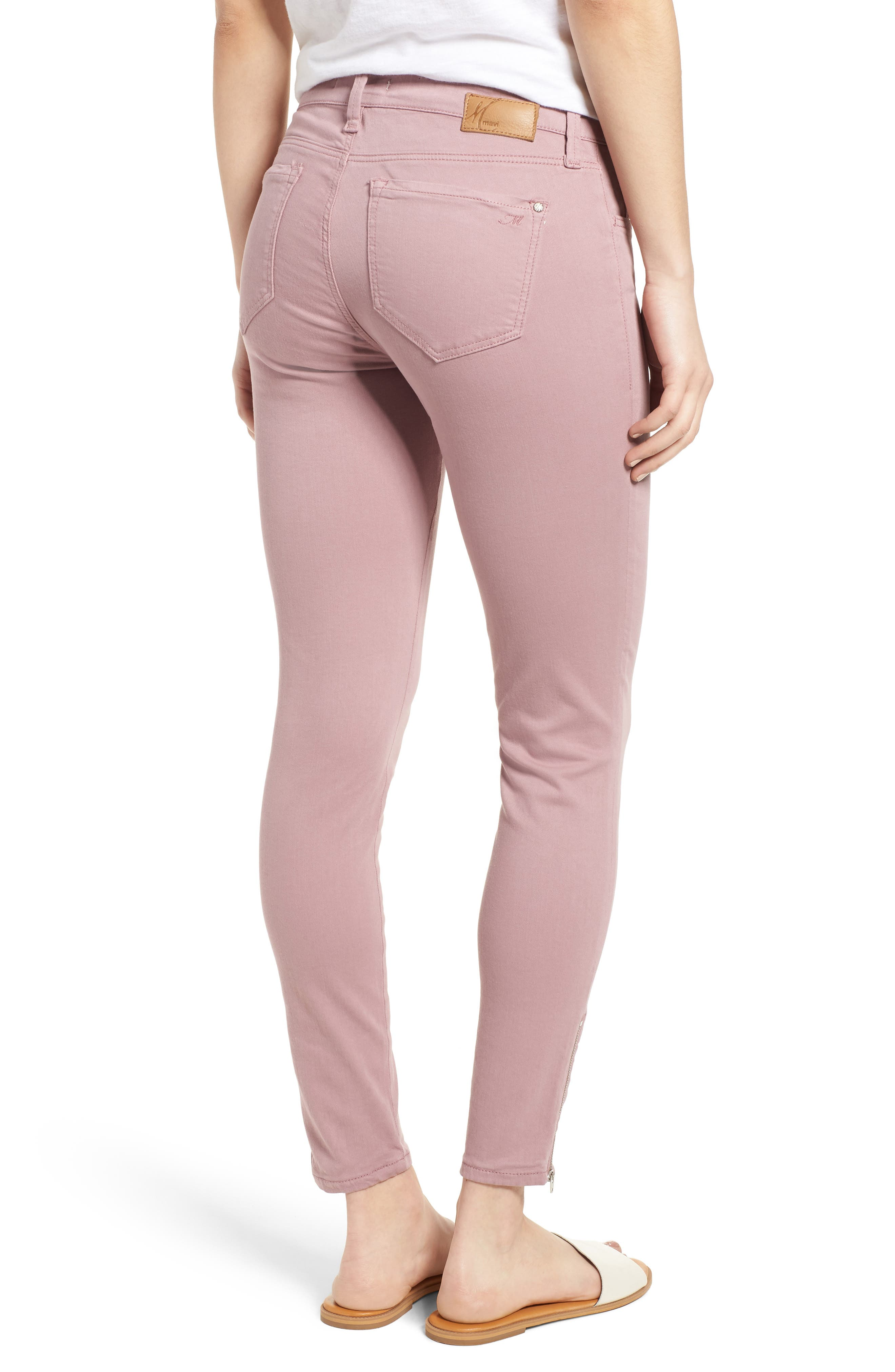 Adriana Zip Ankle Super Skinny Jeans,                             Alternate thumbnail 2, color,                             Zip Light Rose Twill