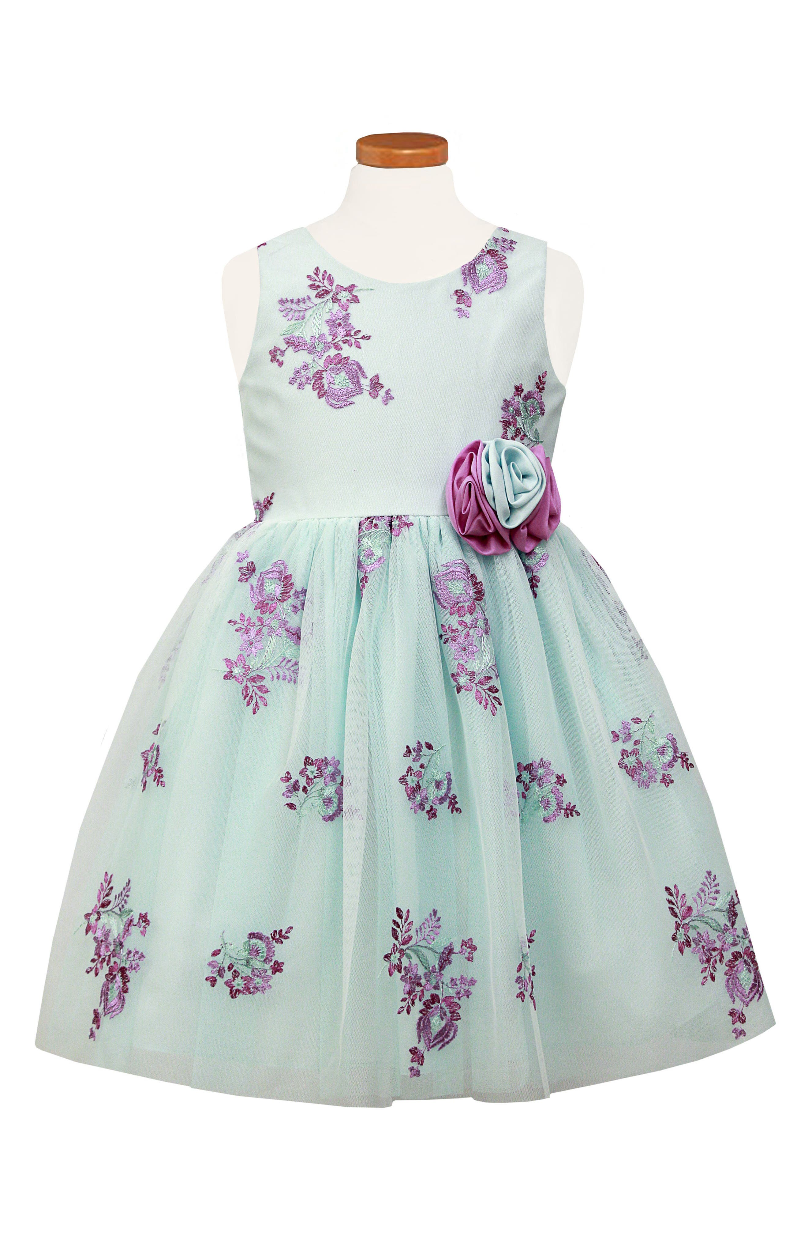 Embroidered Floral Tulle Dress,                         Main,                         color, Aqua