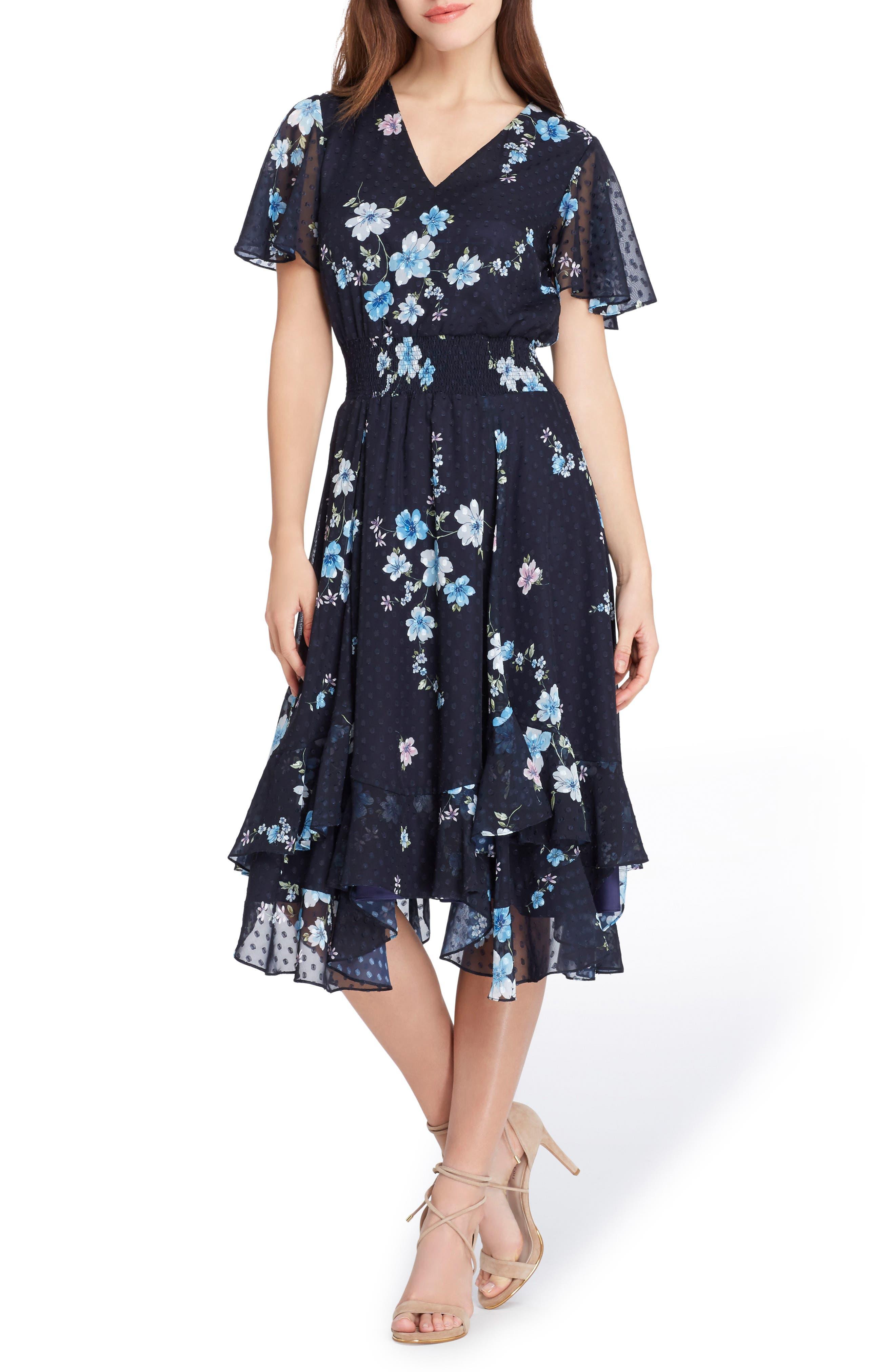 Main Image - Tahari Floral Print Flutter Sleeve Dress