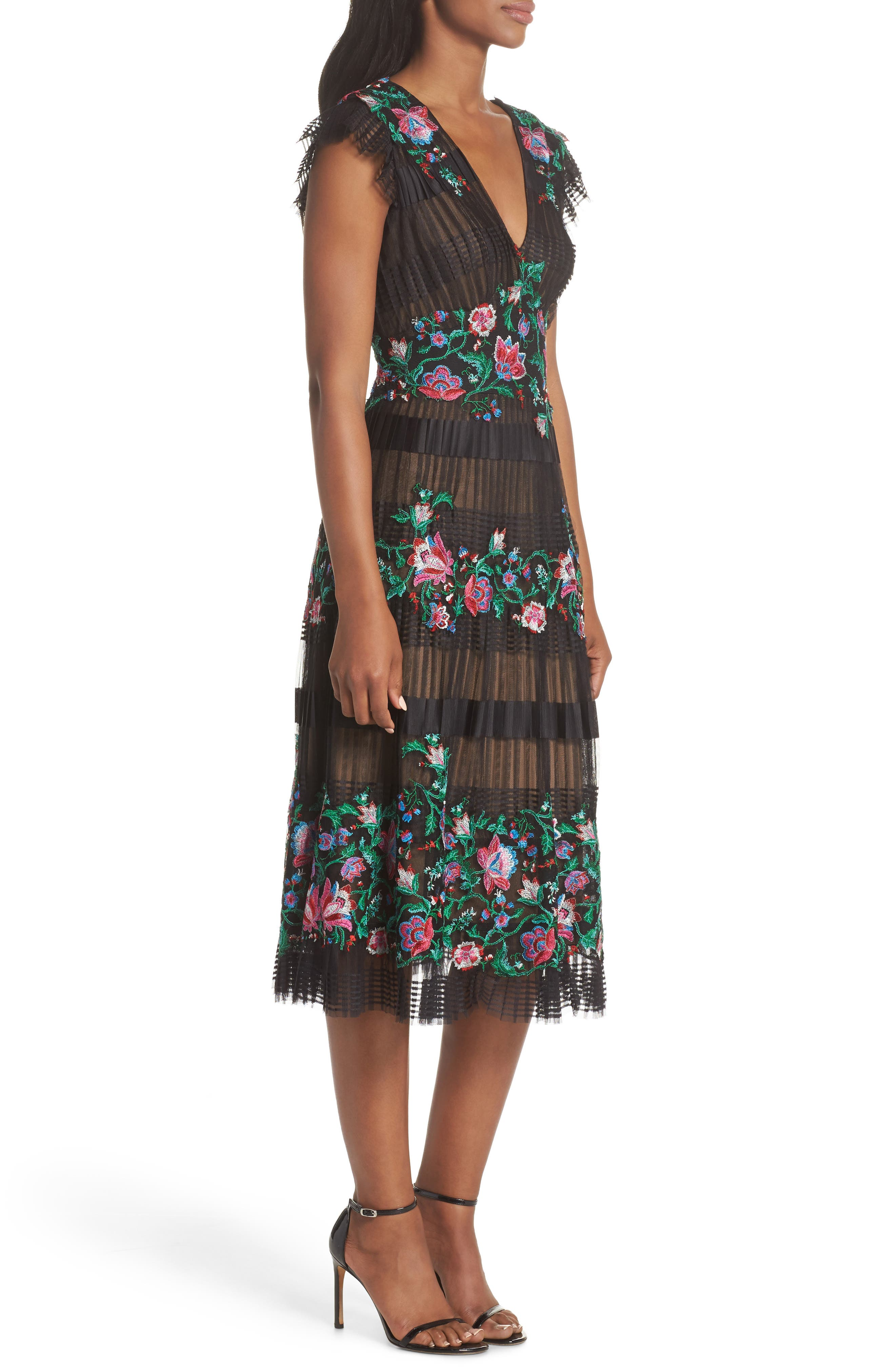 Embroidered Pleat Tulle Midi Dress,                             Alternate thumbnail 3, color,                             Black Dahlia