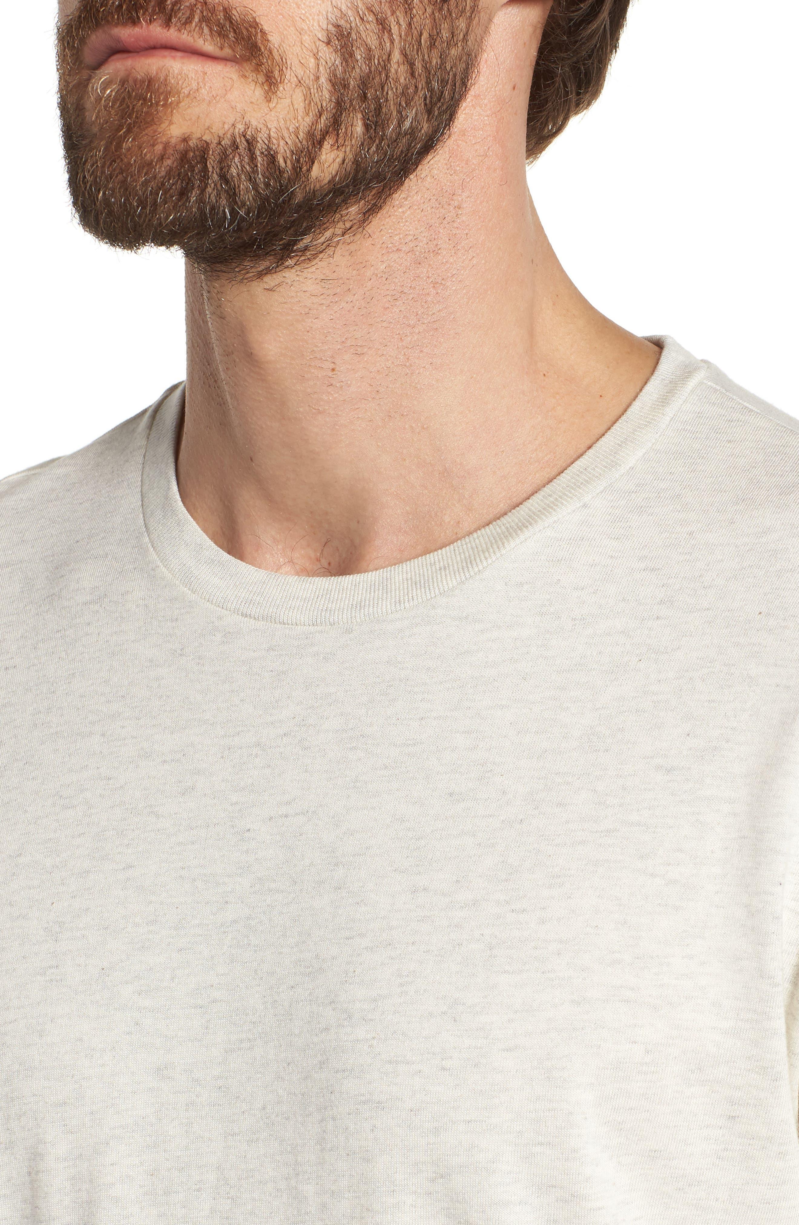Supreme Comfort Crewneck T-Shirt,                             Alternate thumbnail 4, color,                             Sand Heather/ Bright Navy