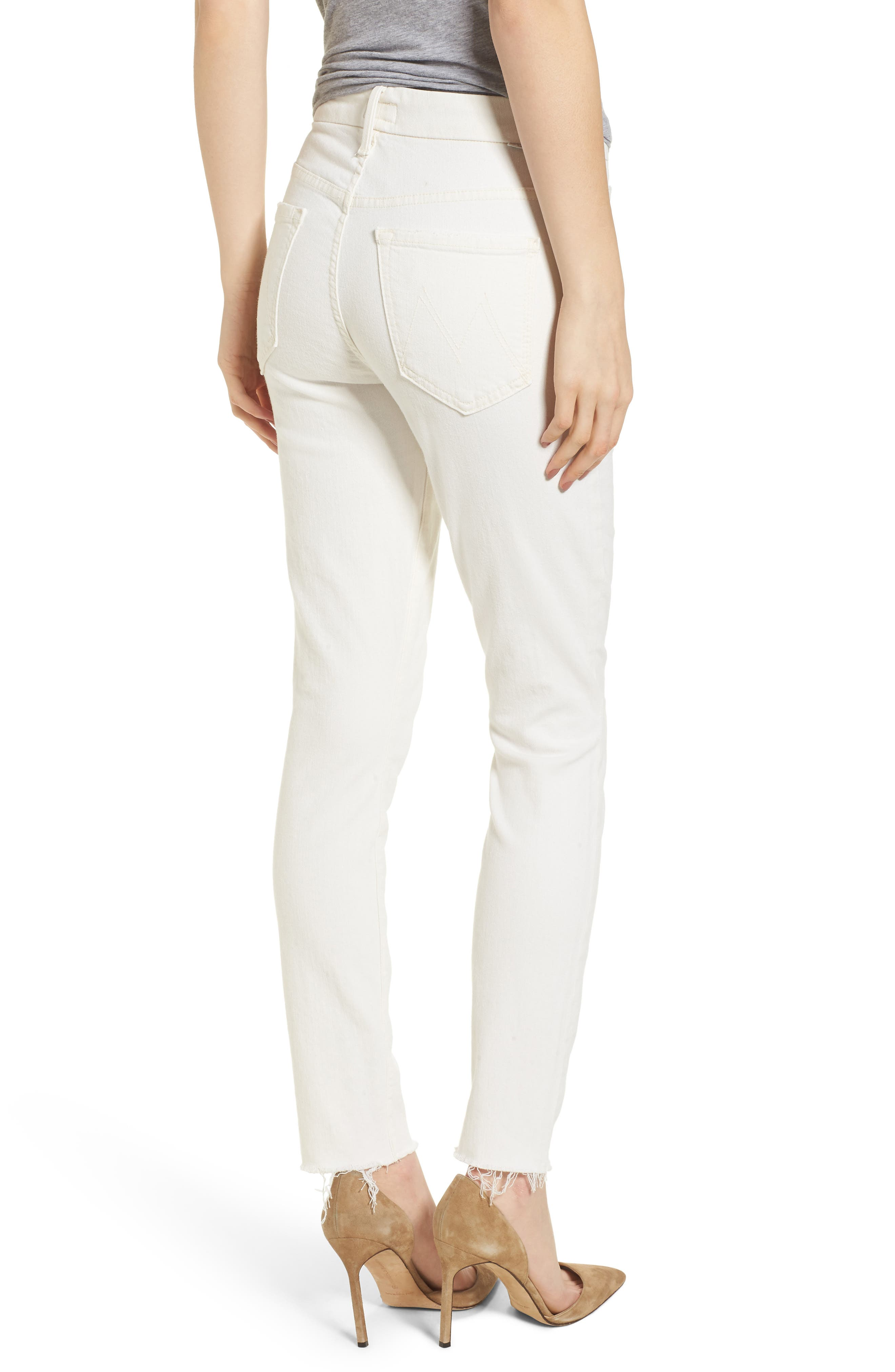 The Looker High Waist Fray Ankle Skinny Jeans,                             Alternate thumbnail 2, color,                             Whipping The Cream