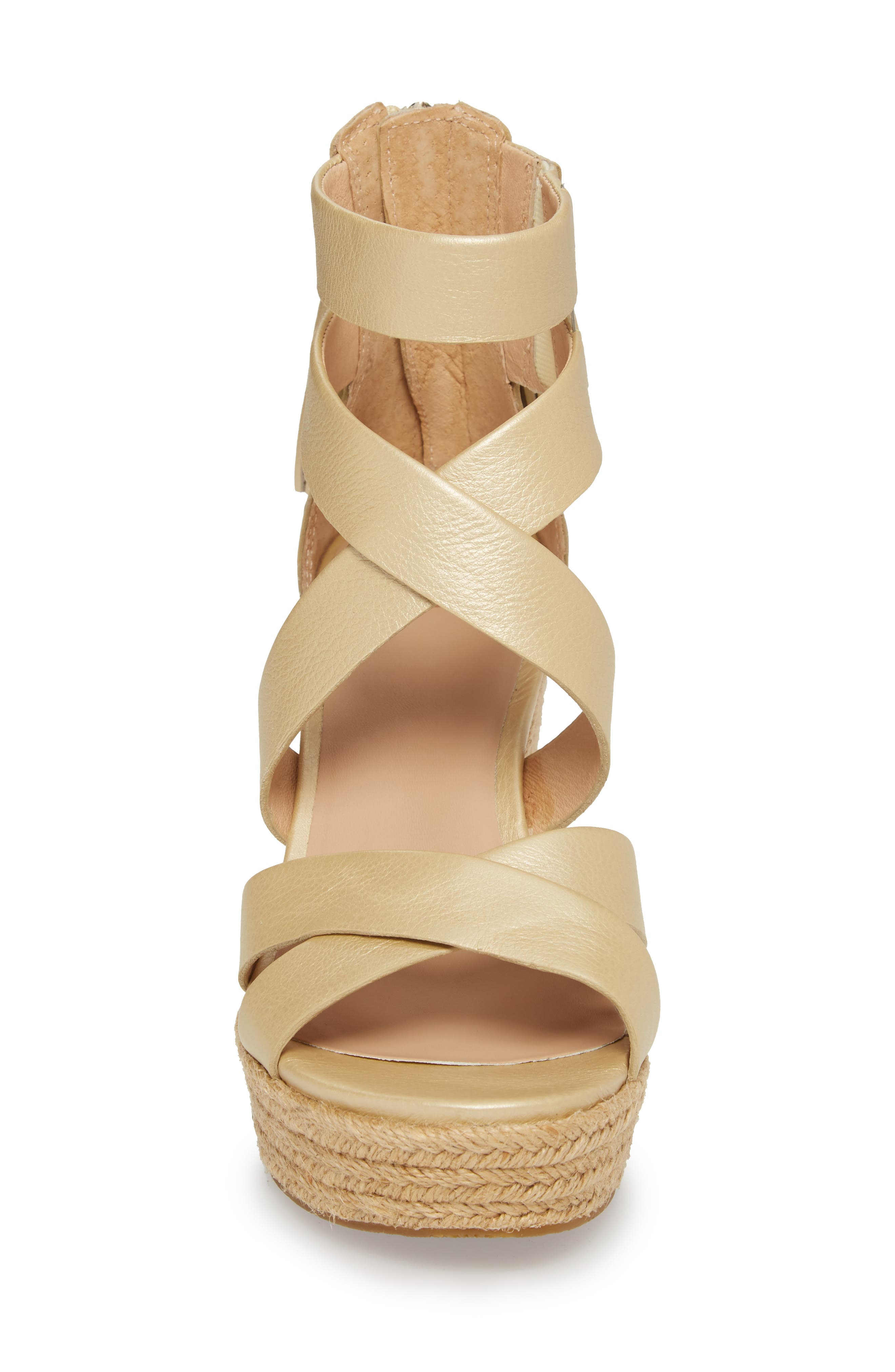 Raquel Platform Wedge Sandal,                             Alternate thumbnail 4, color,                             Soft Gold Leather