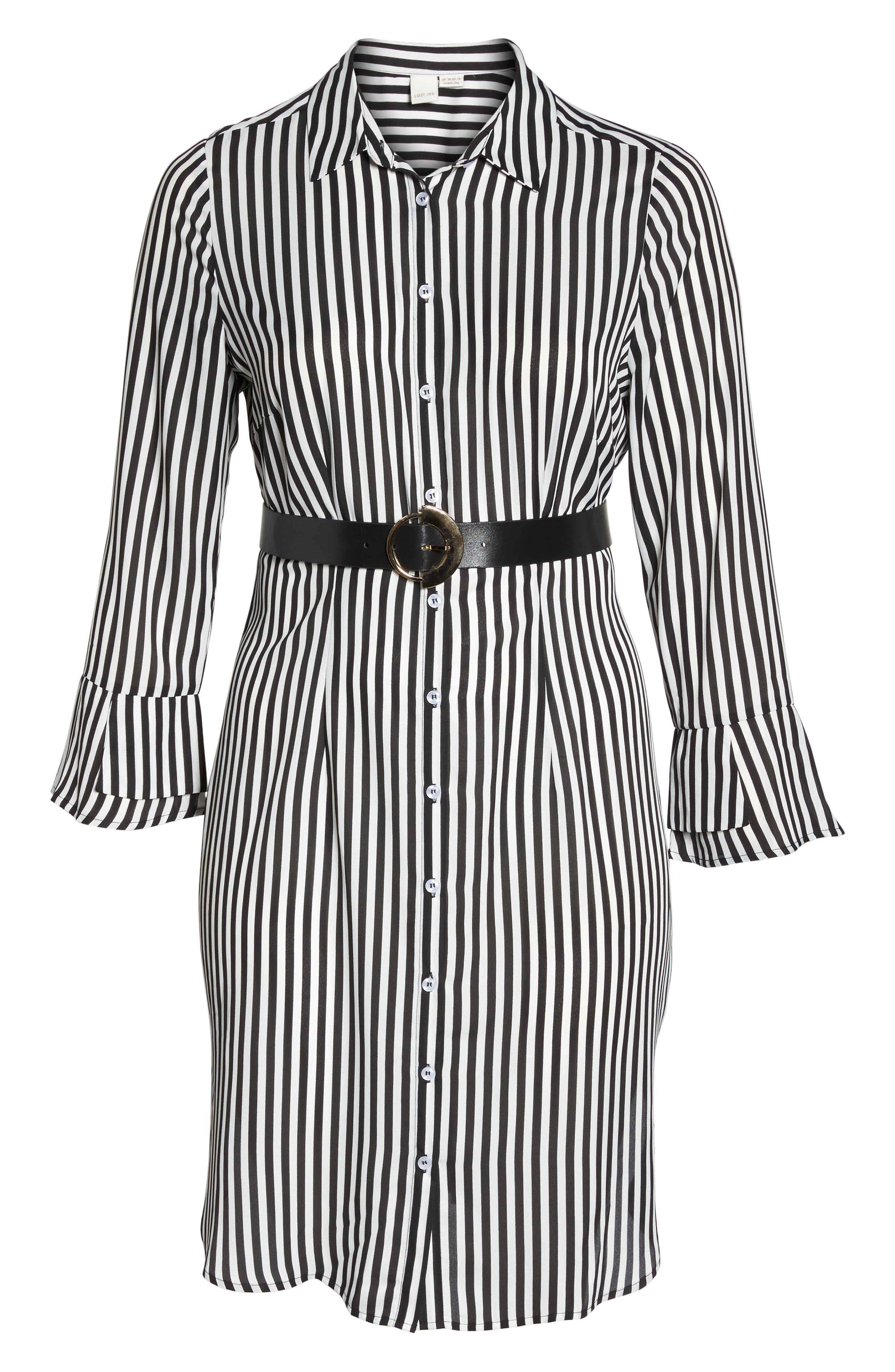Alternate Image 6  - LOST INK Belted Stripe Shirtdress (Plus Size)