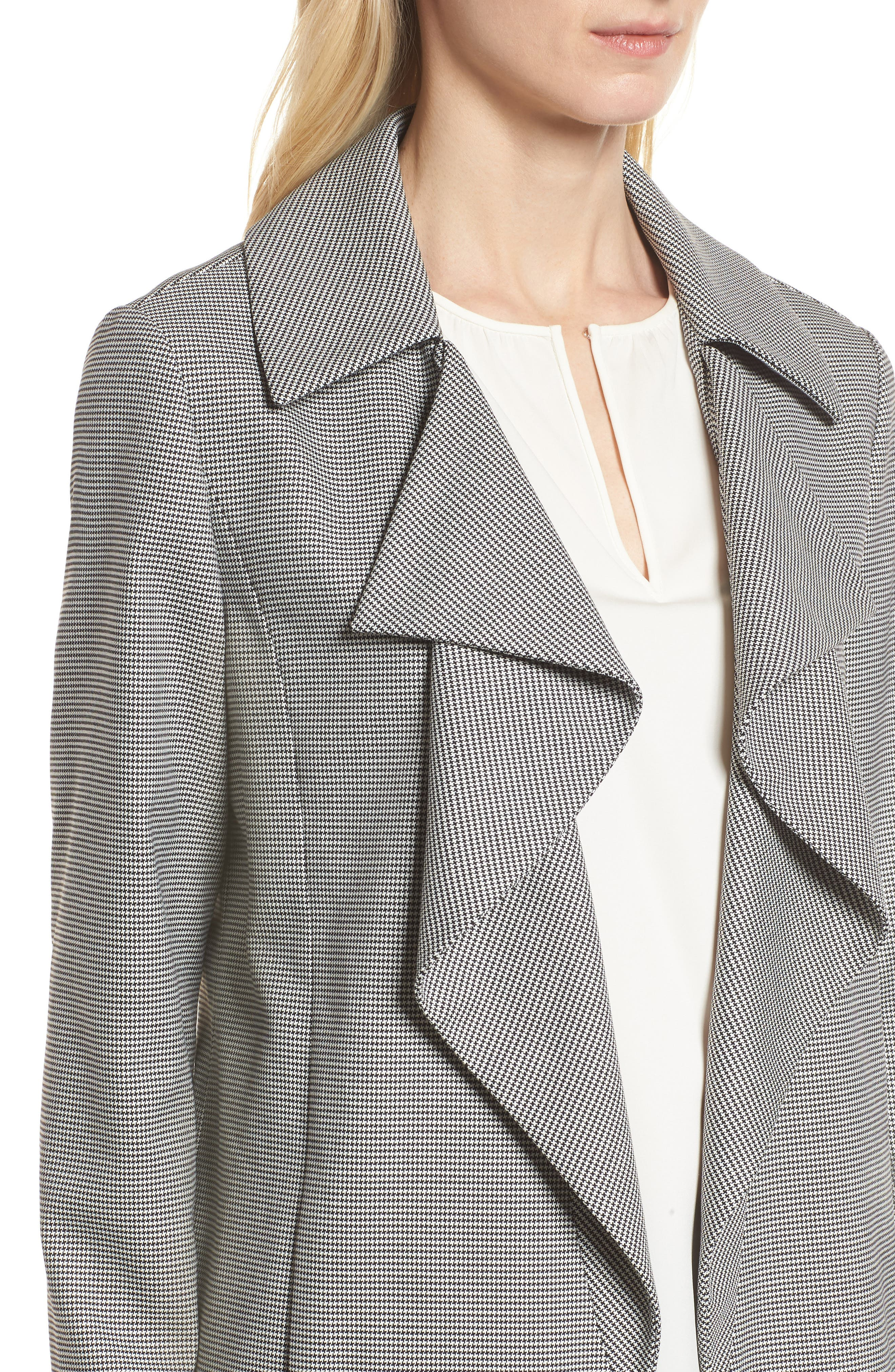 Houndstooth Open Front Jacket,                             Alternate thumbnail 4, color,                             Black- White Houndstooth
