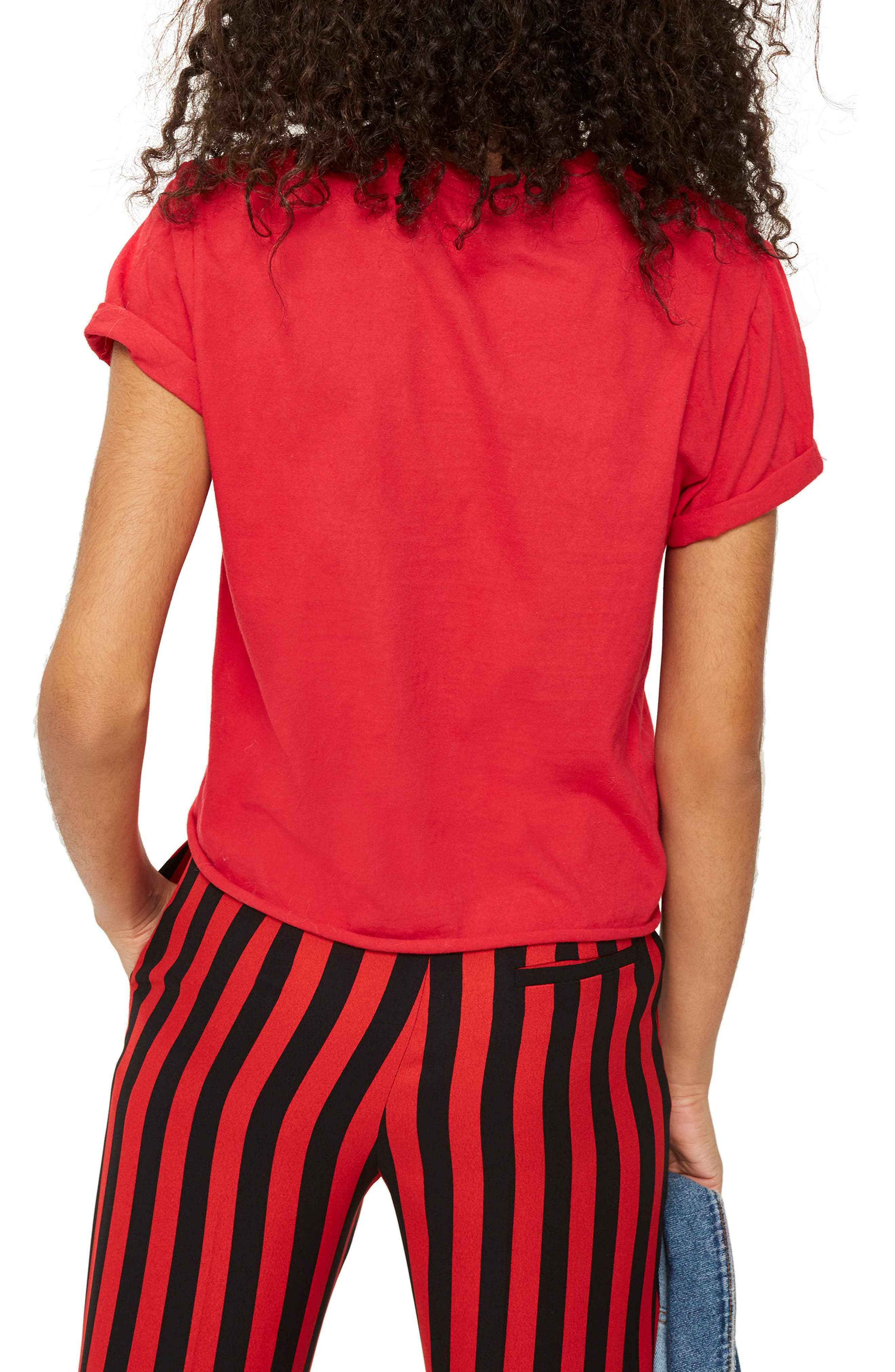J'Adore Studded Crop T-Shirt,                             Alternate thumbnail 3, color,                             Red Multi