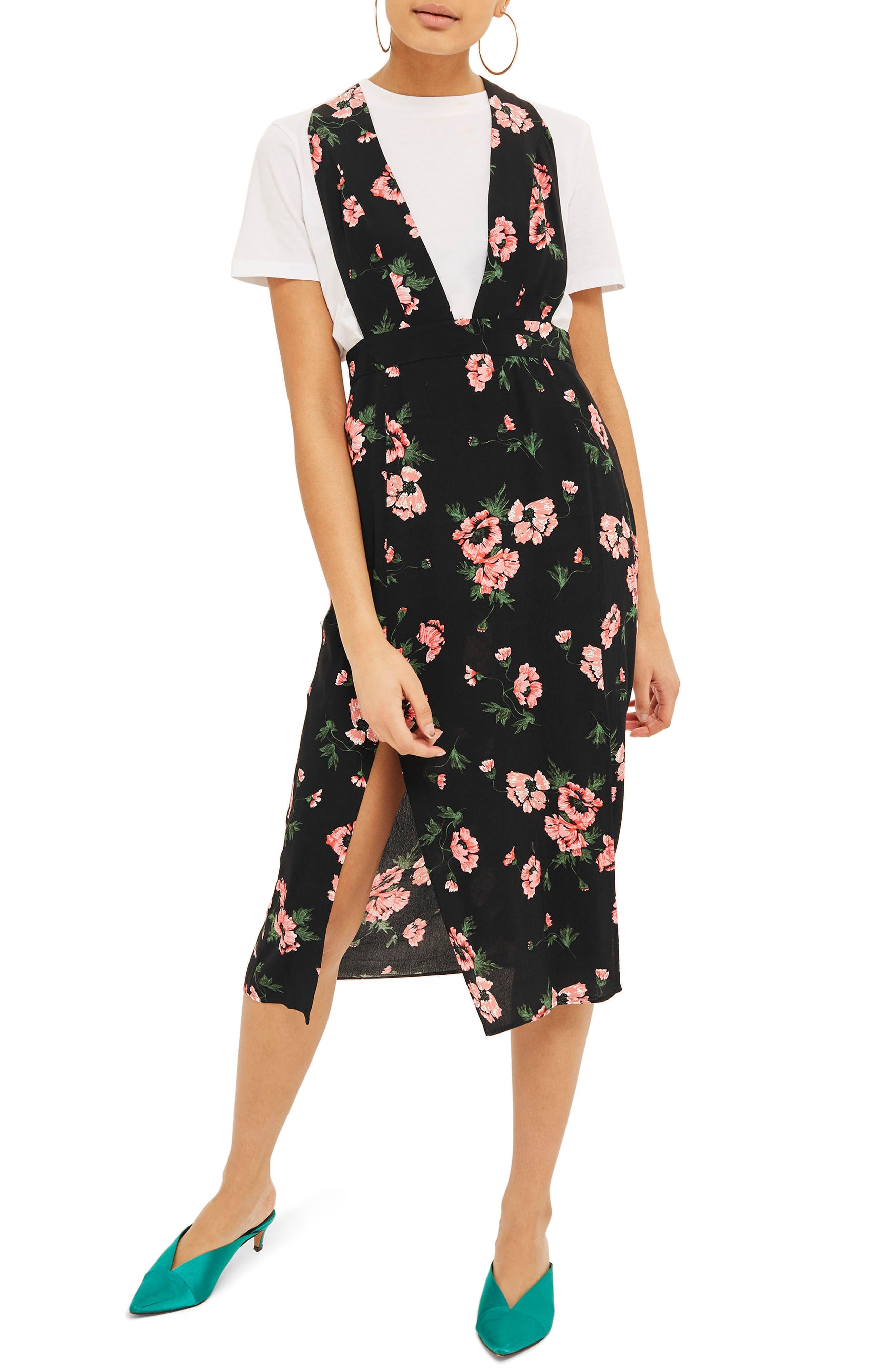 Posy Pinafore Midi Dress,                             Main thumbnail 1, color,                             Black Multi