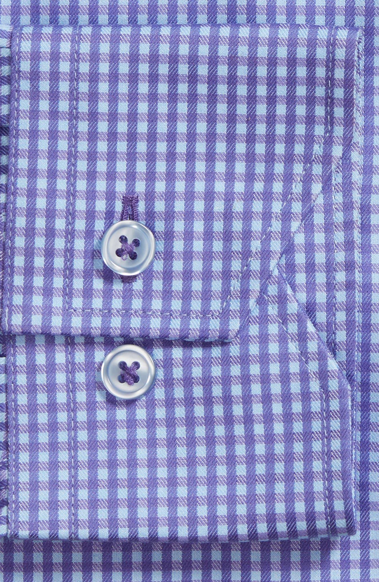 Trim Fit Mini Check Dress Shirt,                             Alternate thumbnail 5, color,                             Purple