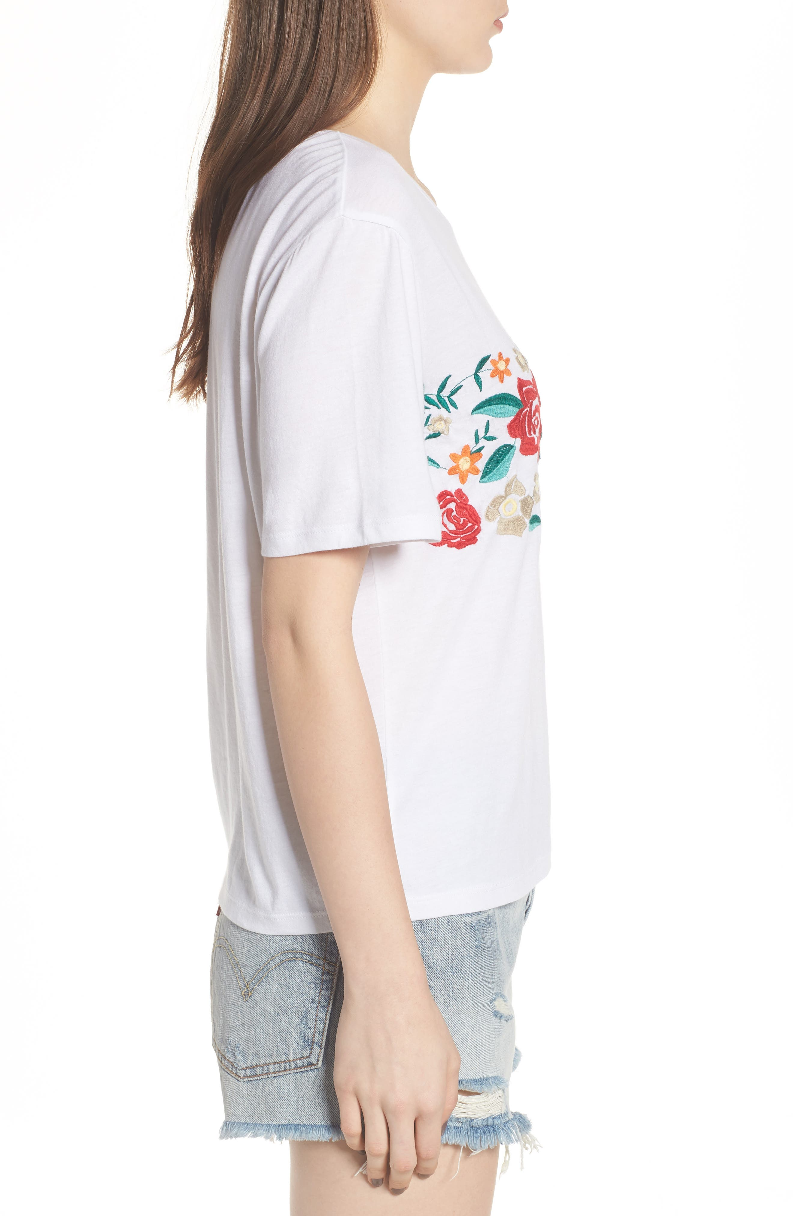 Floral Embroidered Tee,                             Alternate thumbnail 3, color,                             White
