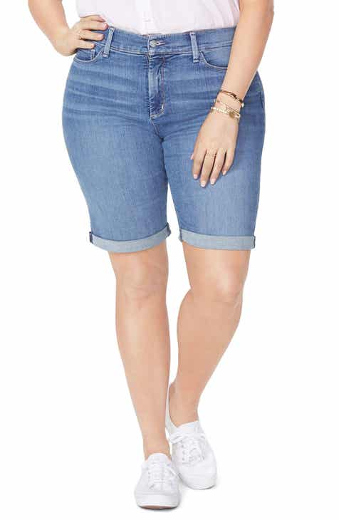 NYDJ Briella Roll Cuff Stretch Denim Shorts (Heyburn) (Plus Size) by NYDJ