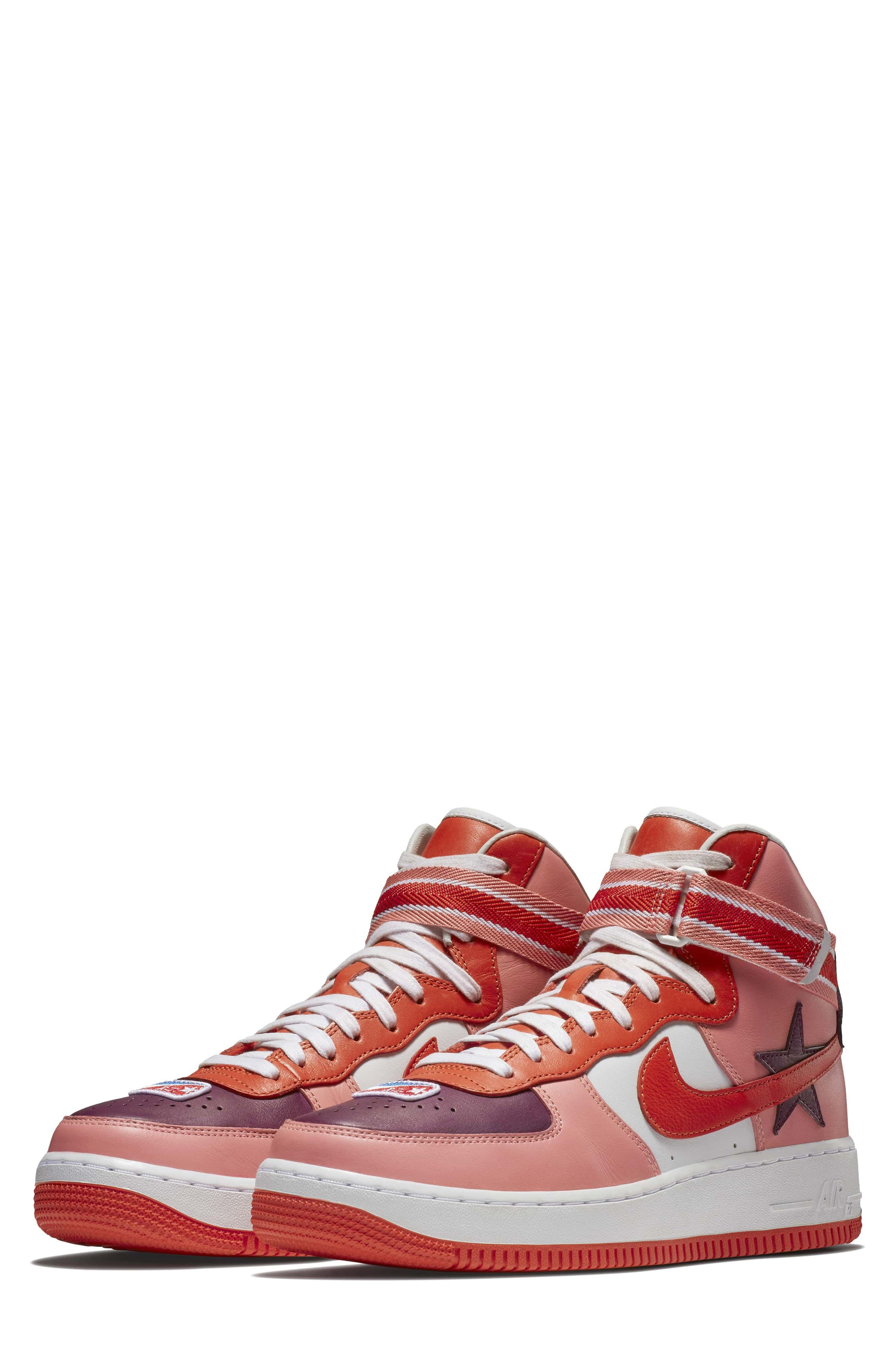 Air Force 1 High RT Sneaker,                             Main thumbnail 1, color,                             Coral/ Bordeax/ Orange/ Black
