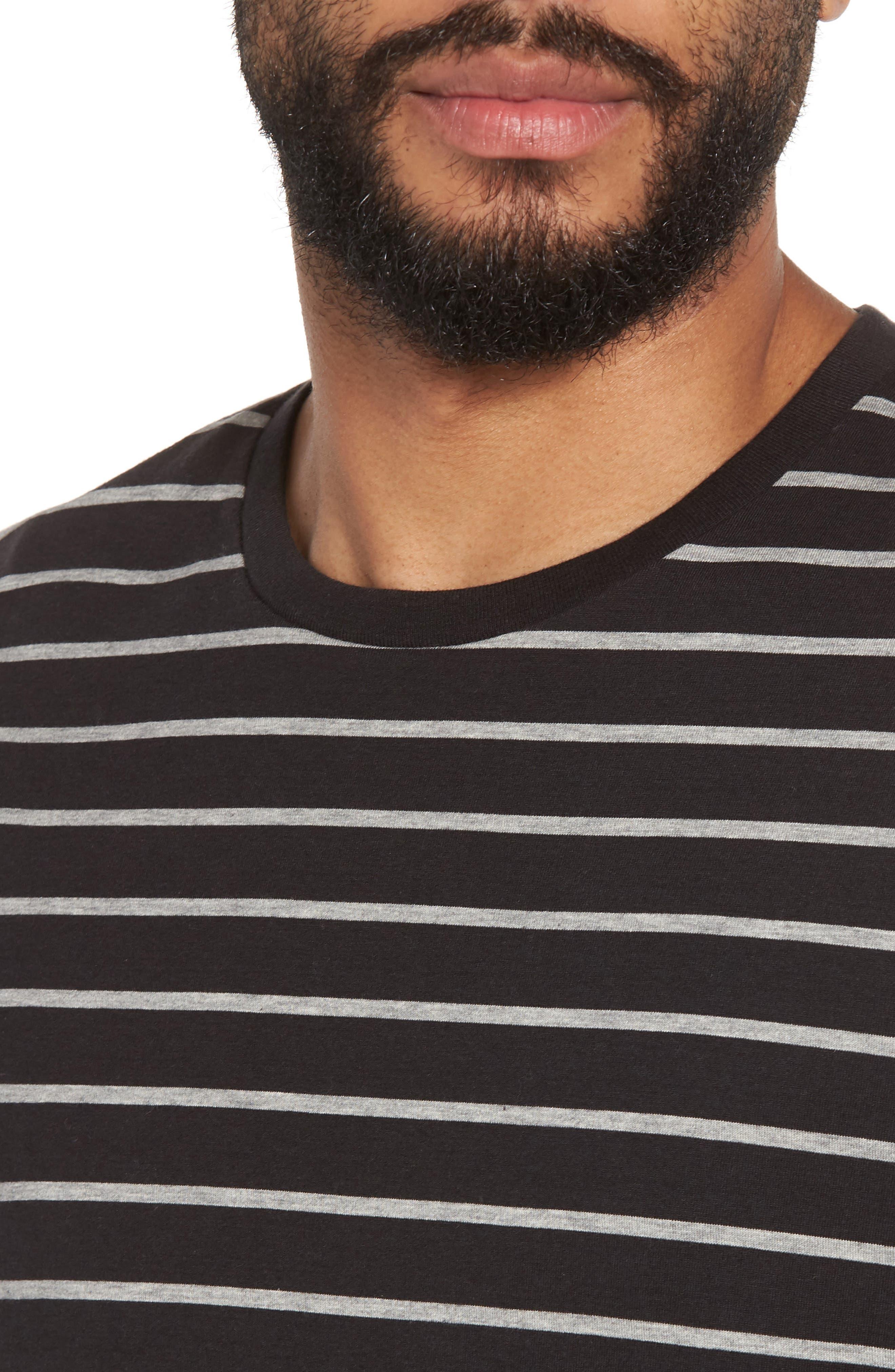 Slim Fit Heathered Stripe T-Shirt,                             Alternate thumbnail 4, color,                             Black/ Heather Steel