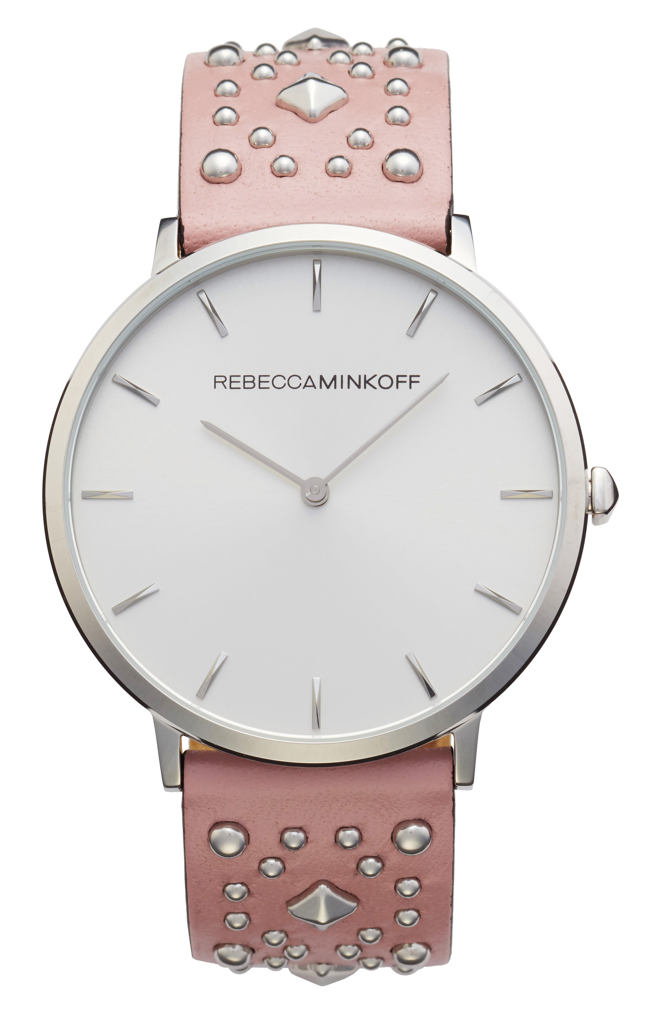 Major Embellished Leather Strap Watch, 40mm,                         Main,                         color, Pink/ White/ Silver