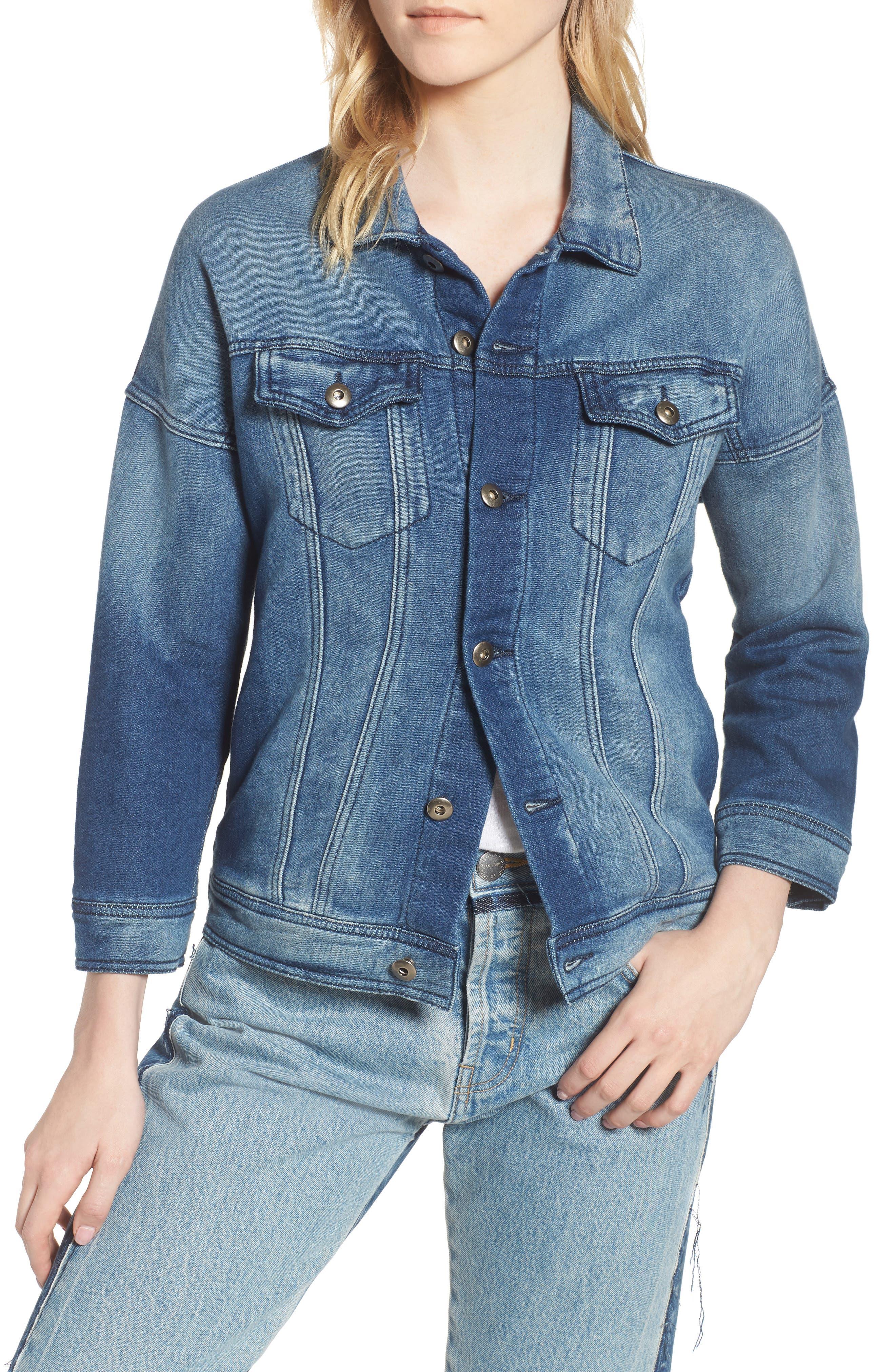 Denim Jacket,                         Main,                         color, Washed Blue