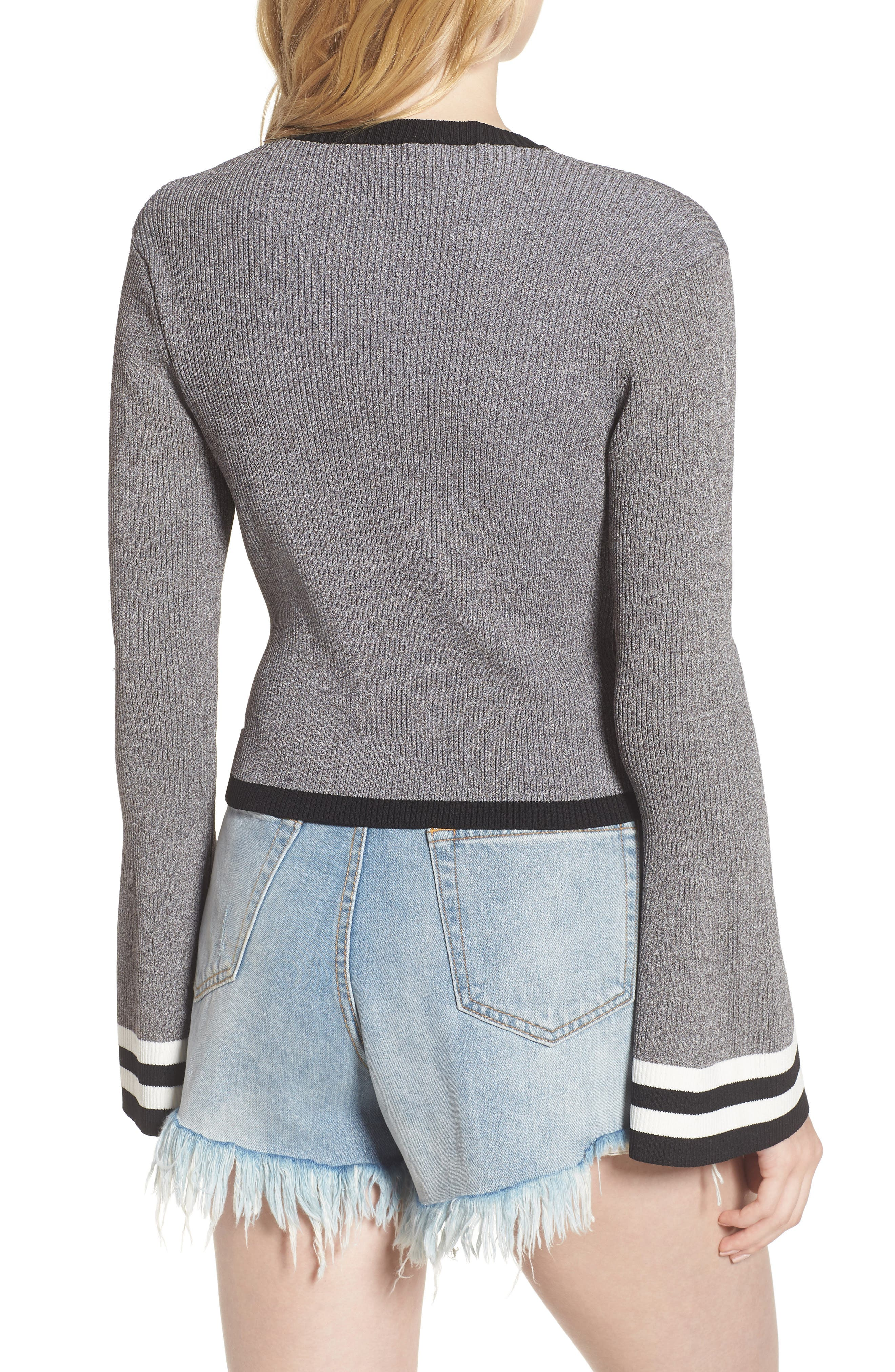Bell Sleeve Crop Sweater,                             Alternate thumbnail 2, color,                             Grey