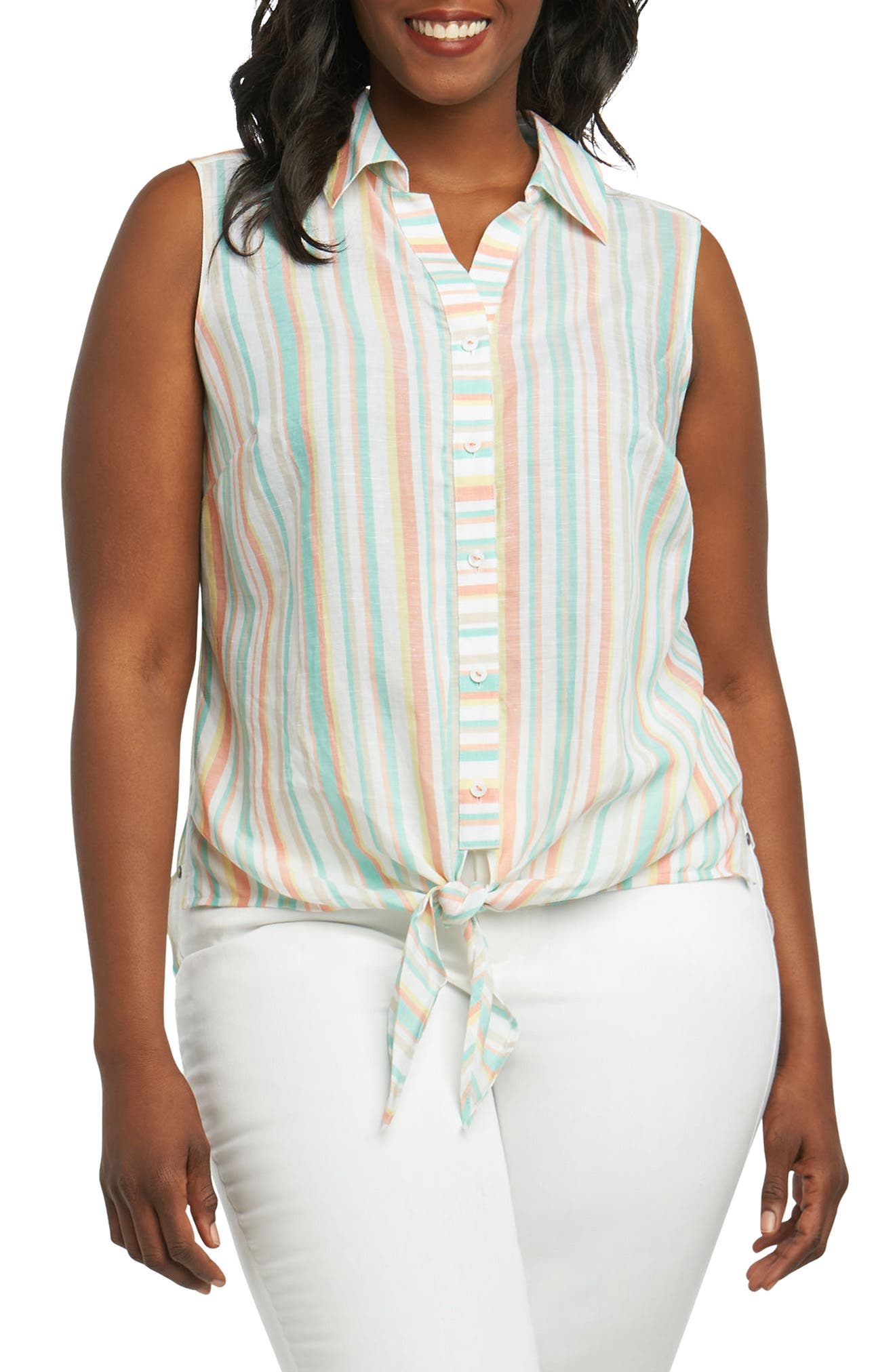 Alternate Image 1 Selected - Foxcroft Lila Cabana Stripe Tie Hem Shirt (Plus Size)