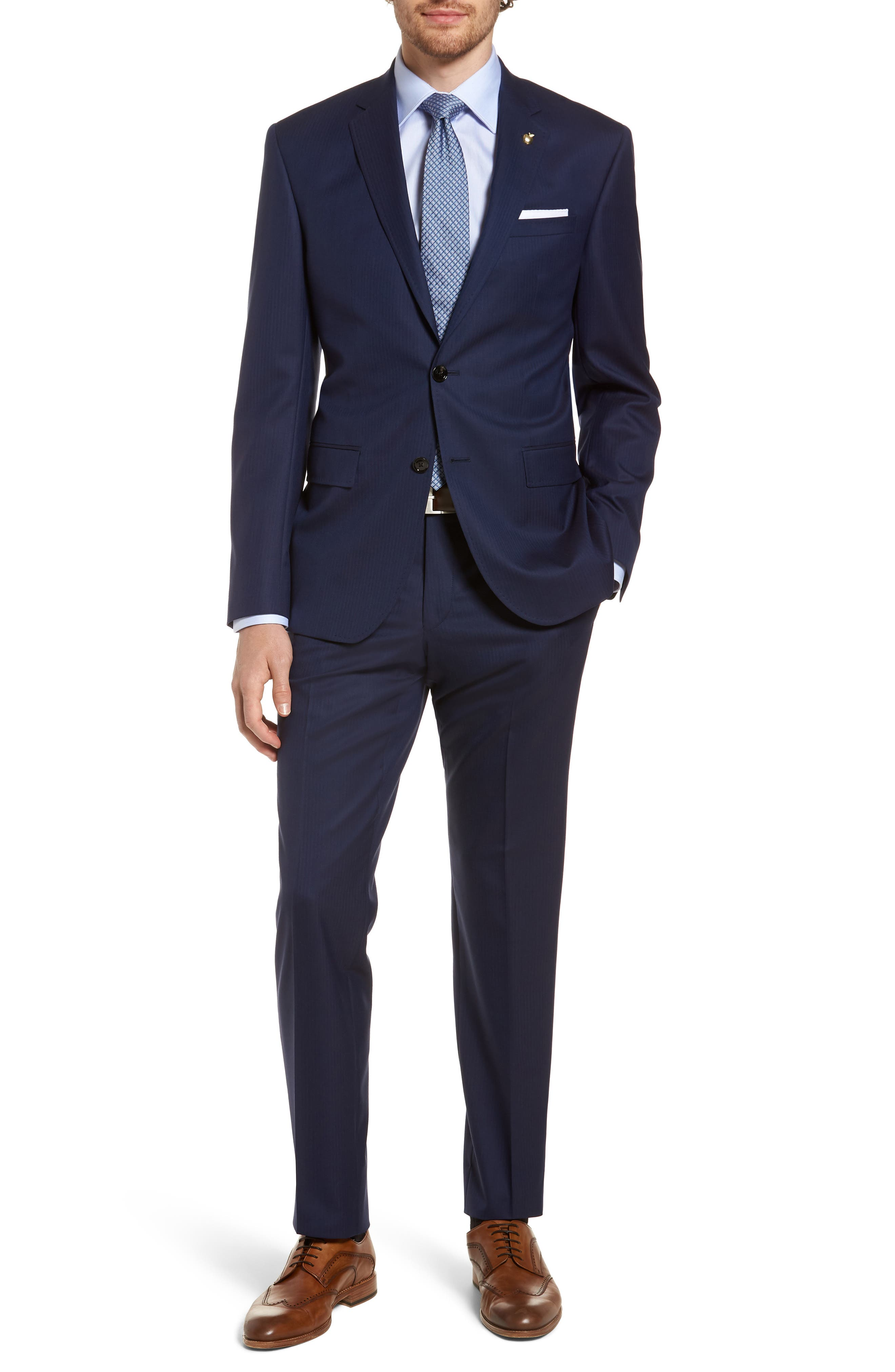 Jay Trim Fit Stripe Wool Suit,                         Main,                         color, Navy